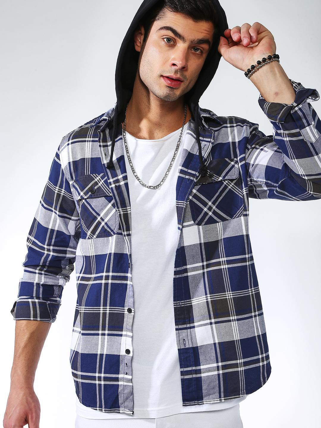 Blue Saint BLUE/BLACK Checkered Hooded Casual Shirt 1