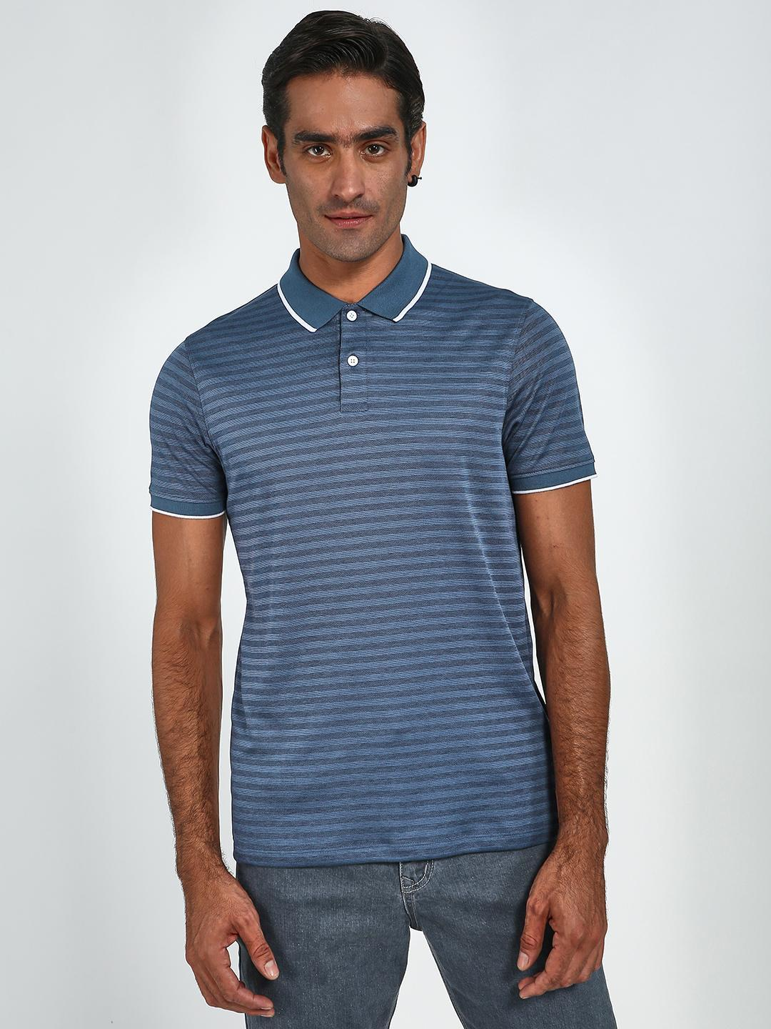 Blue Saint Navy Horizontal Stripe Contrast Tipping Polo Shirt 1