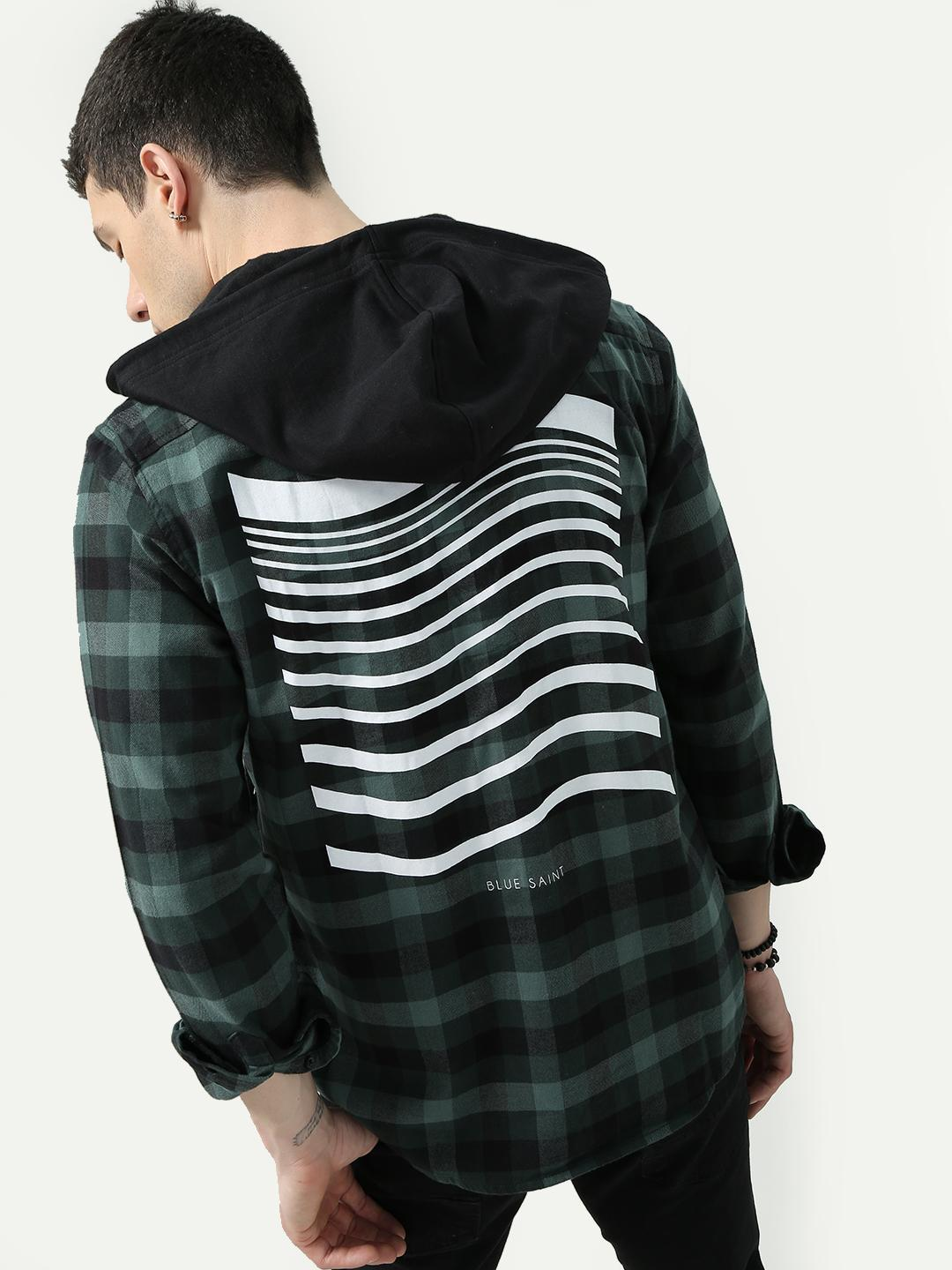 Blue Saint Green/Black Check Shirt with Contrast Hood 1