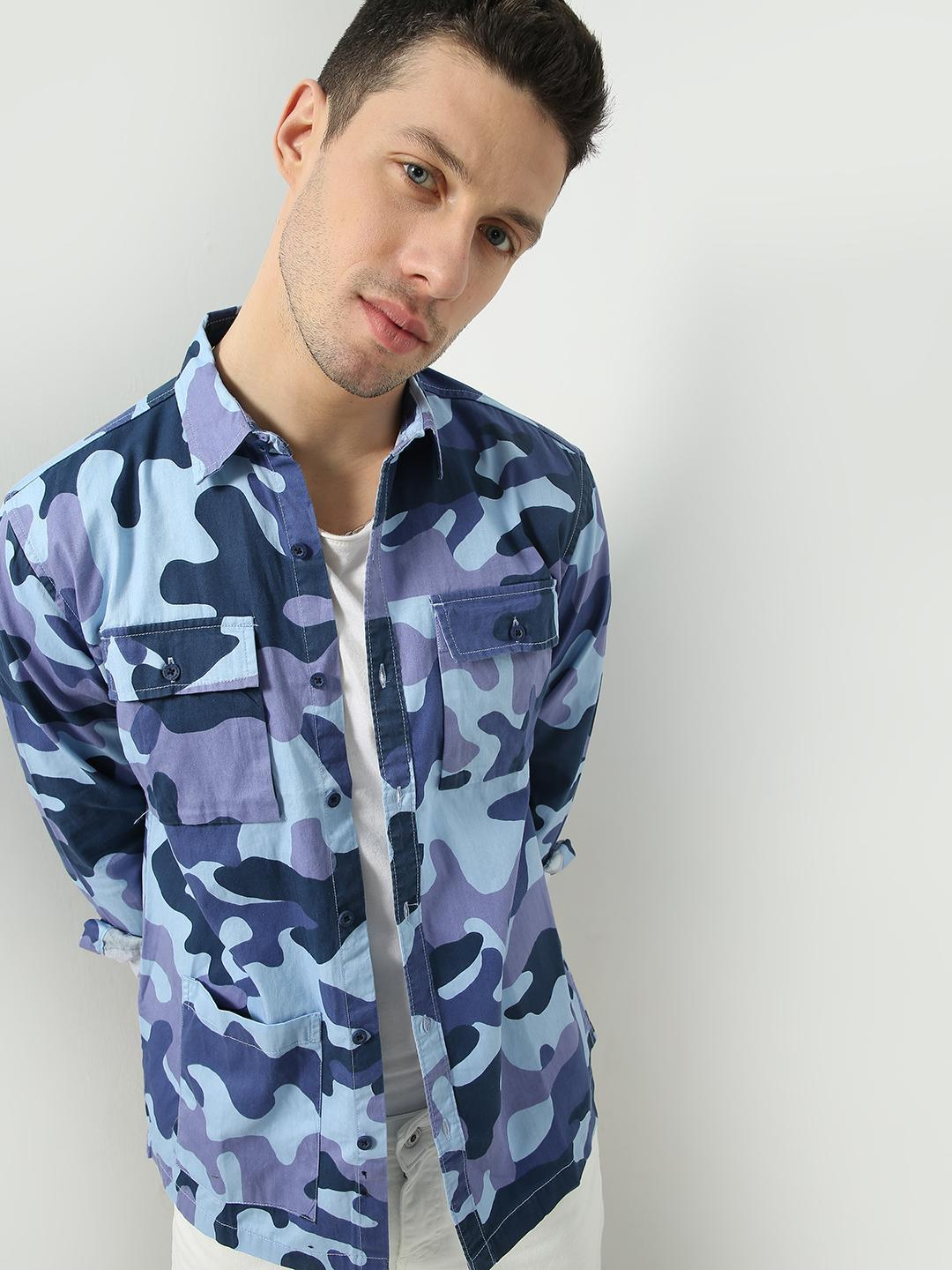 Blue Saint Blue Camo Print Patch Pocket Shirt 1