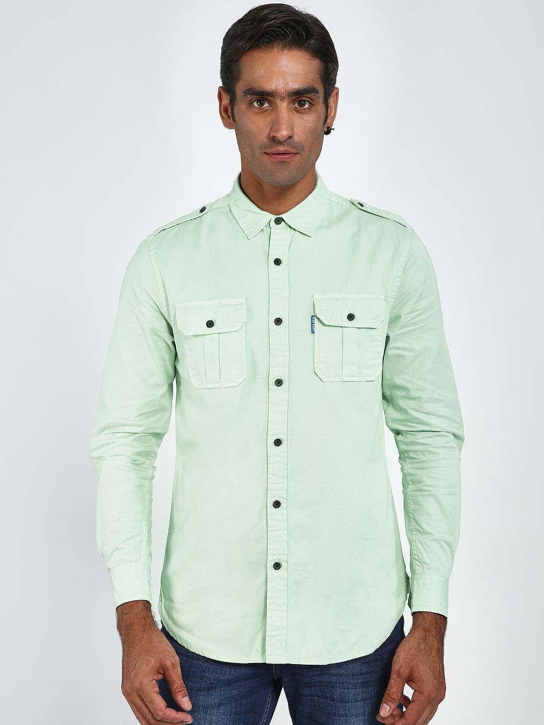 Blue Saint Green Twin Pocket Slim Fit Shirt 1