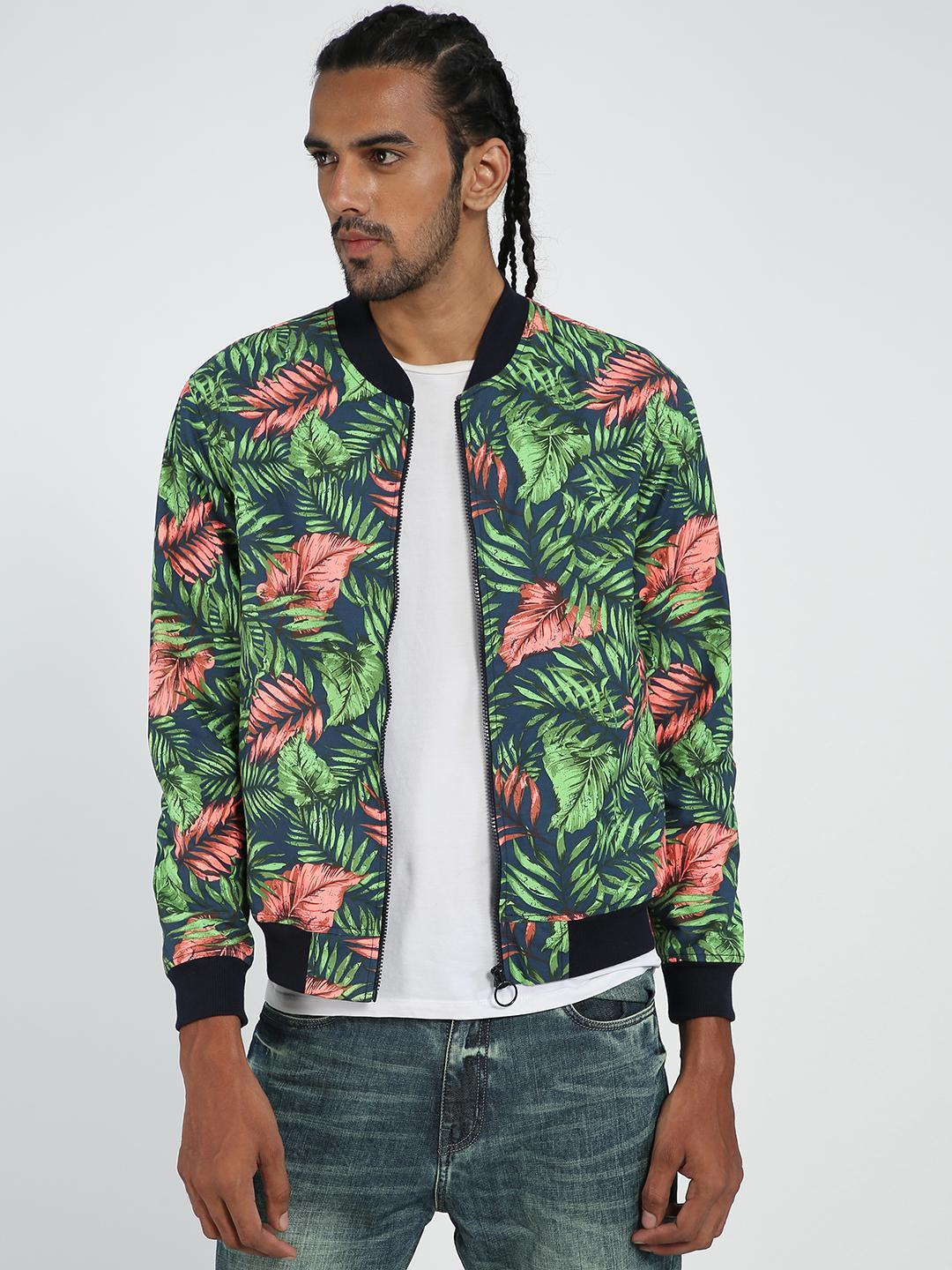 TRUE RUG Multi Palm Leaf Print Bomber Jacket 1