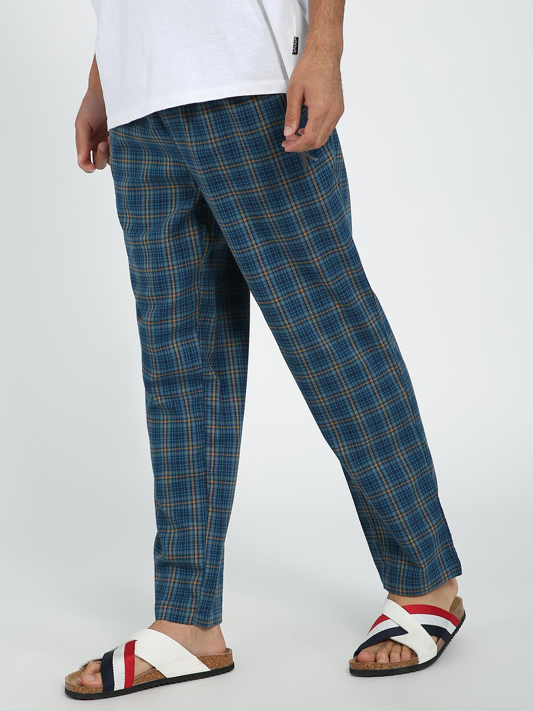 TRUE RUG Blue Multi Checks Jog Pants 1