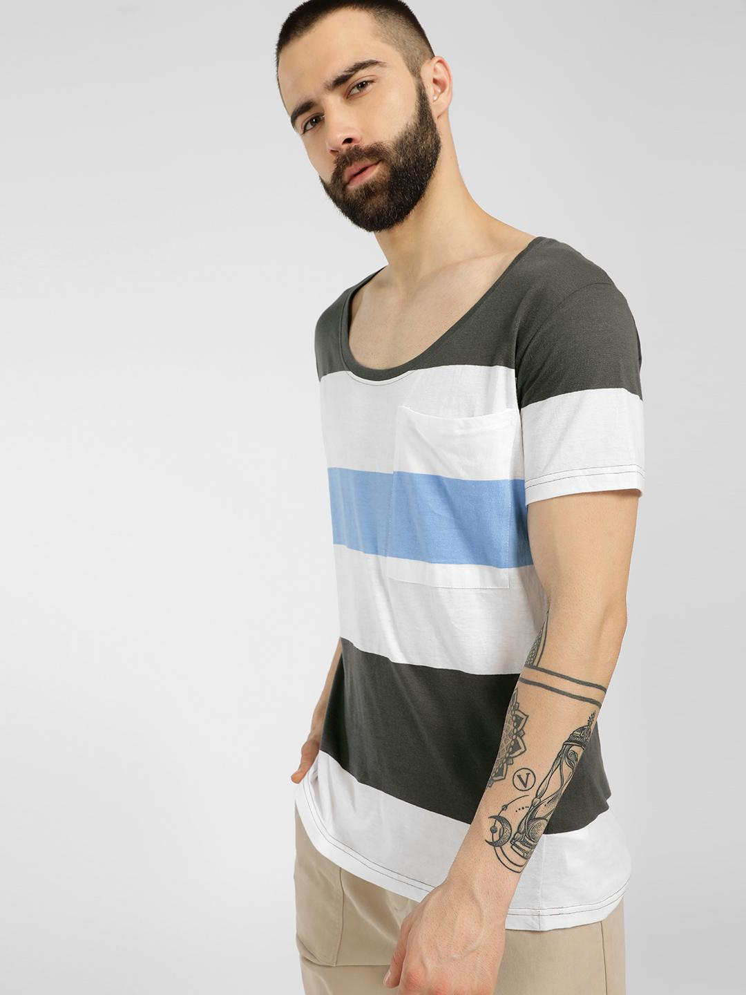 Blue Saint Multi Scoop Neck Striped T-Shirt 1