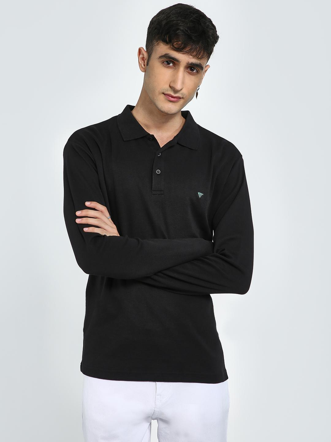 Blue Saint Black Basic Long Sleeve Polo Shirt 1