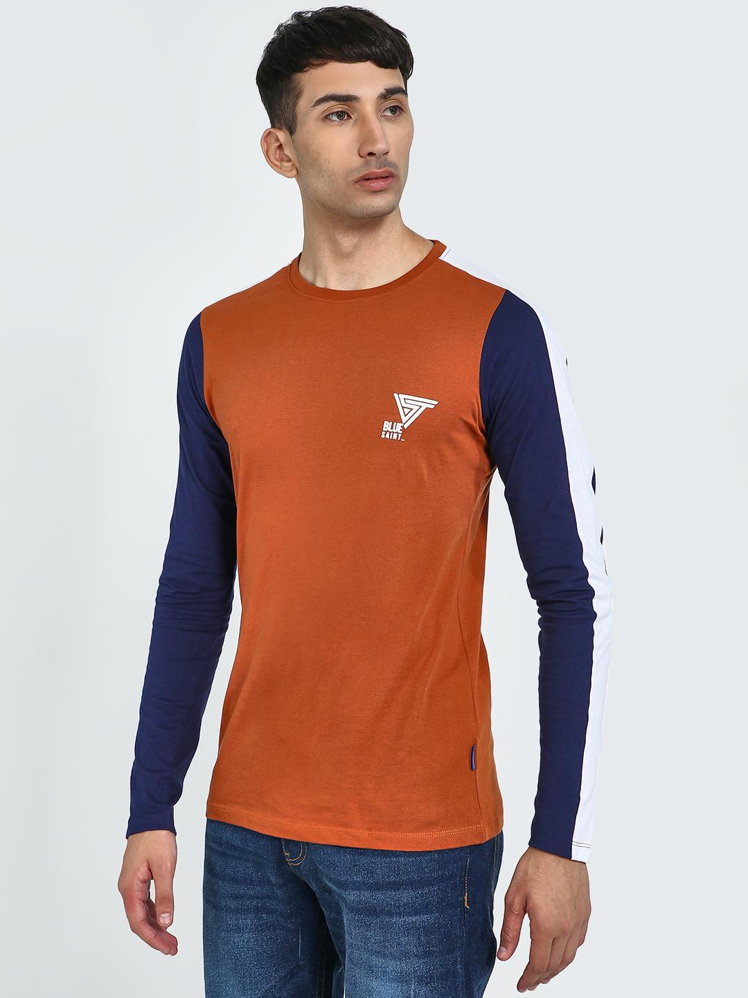 Blue Saint Navy/Orange Contrast Side Tape Long Sleeve T-Shirt 1
