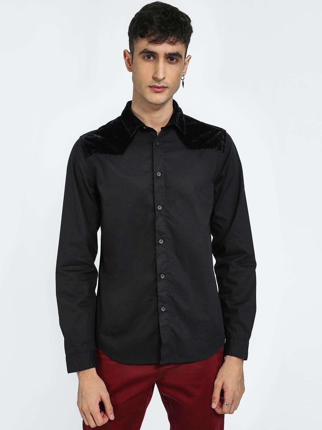 Blue Saint Black Velour Panel Casual Shirt 1