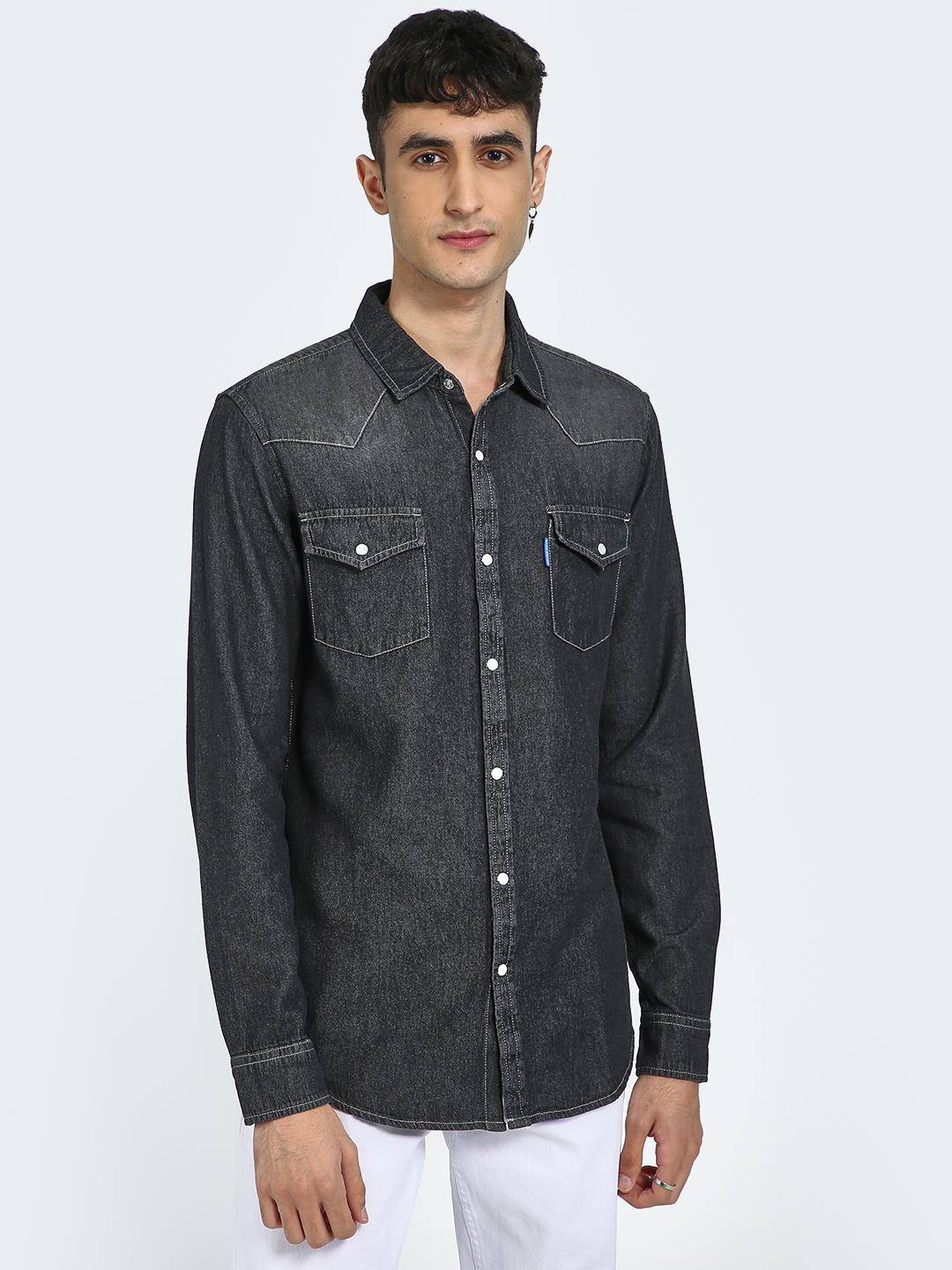 Blue Saint Black/Charcoal Chambray Patch Pocket Causal Shirt 1