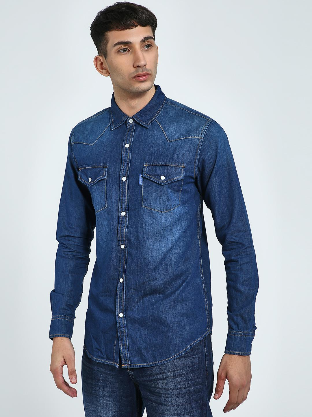 Blue Saint Blue Twin Pocket Chambray Shirt 1