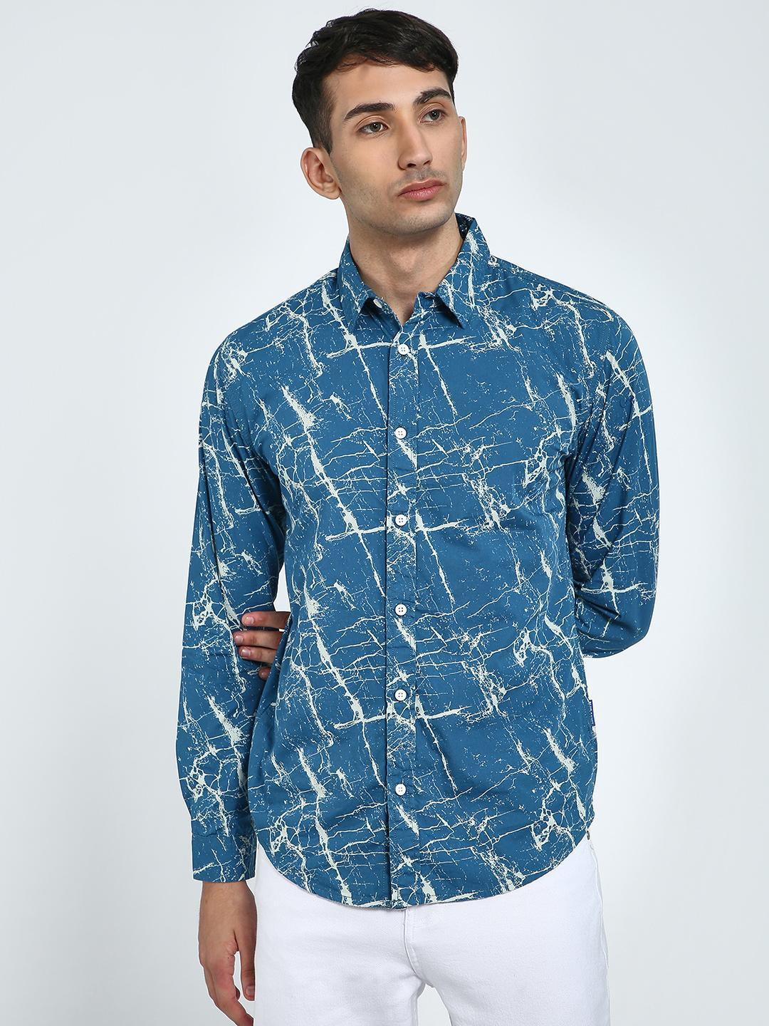 Blue Saint Blue Marble Print Long Sleeve Shirt 1