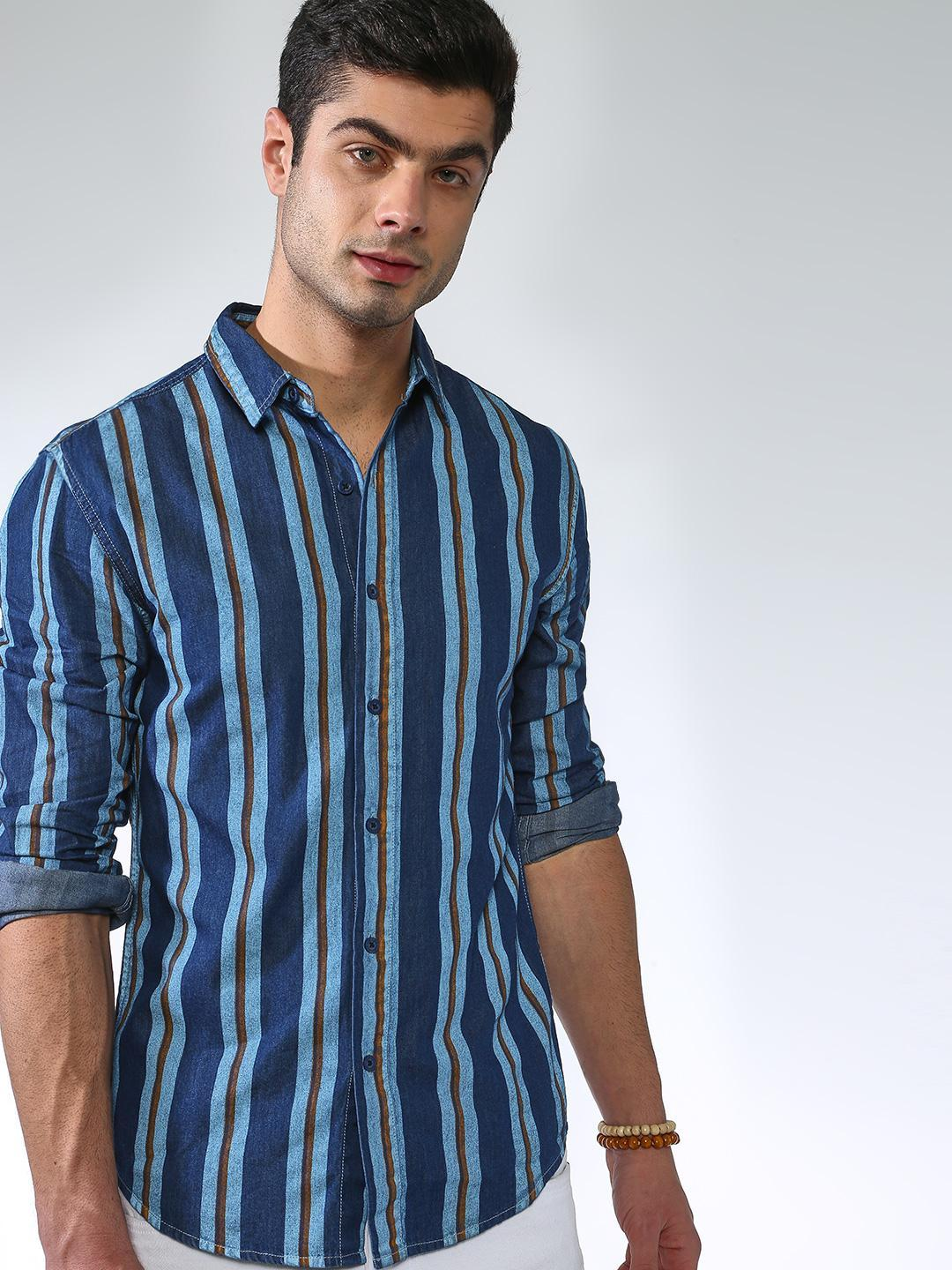 Blue Saint Navy Vertical Stripe Long Sleeve Shirt 1