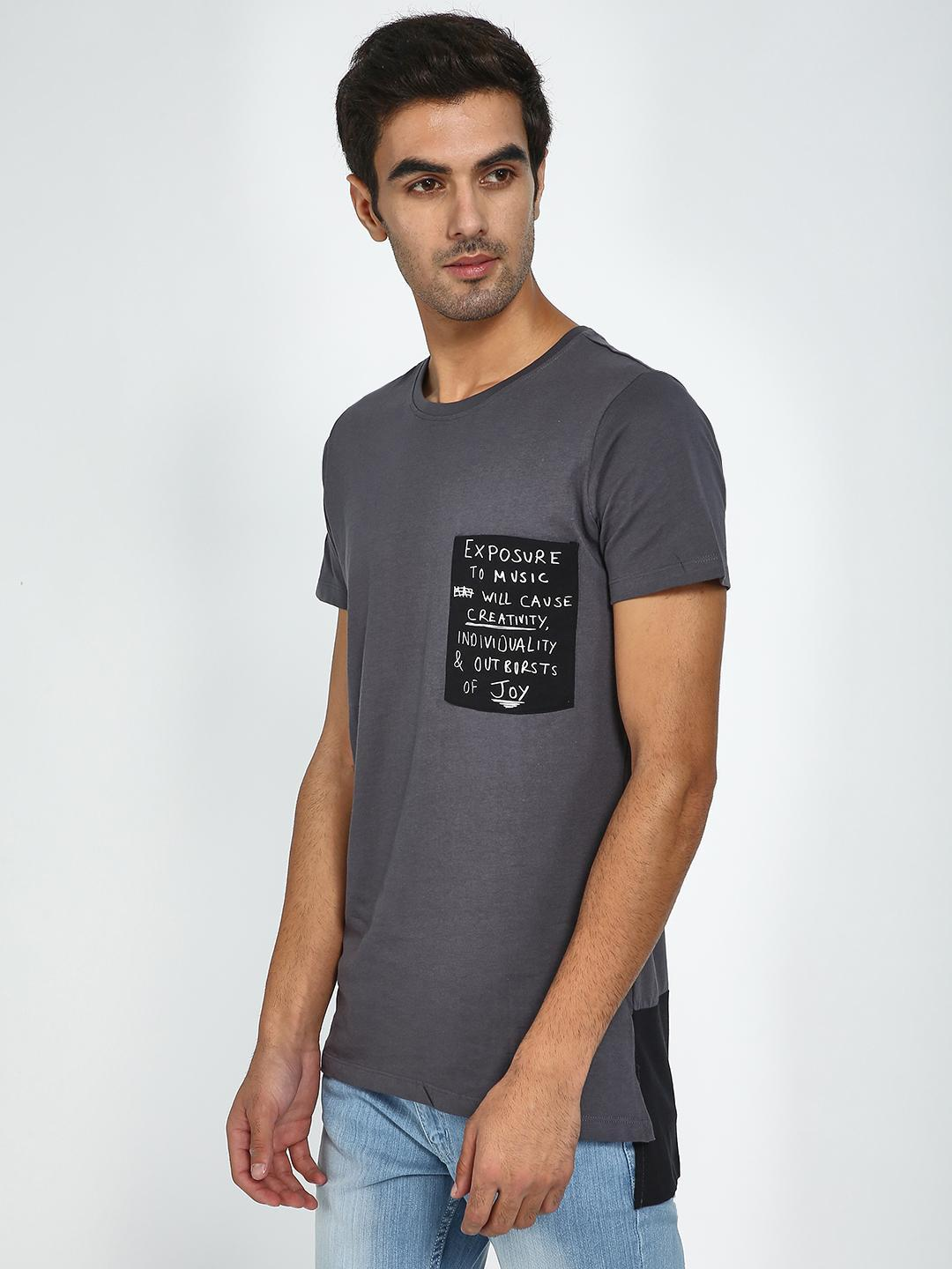 Blue Saint Grey Patch Pocket Printed Casual T-Shirt 1