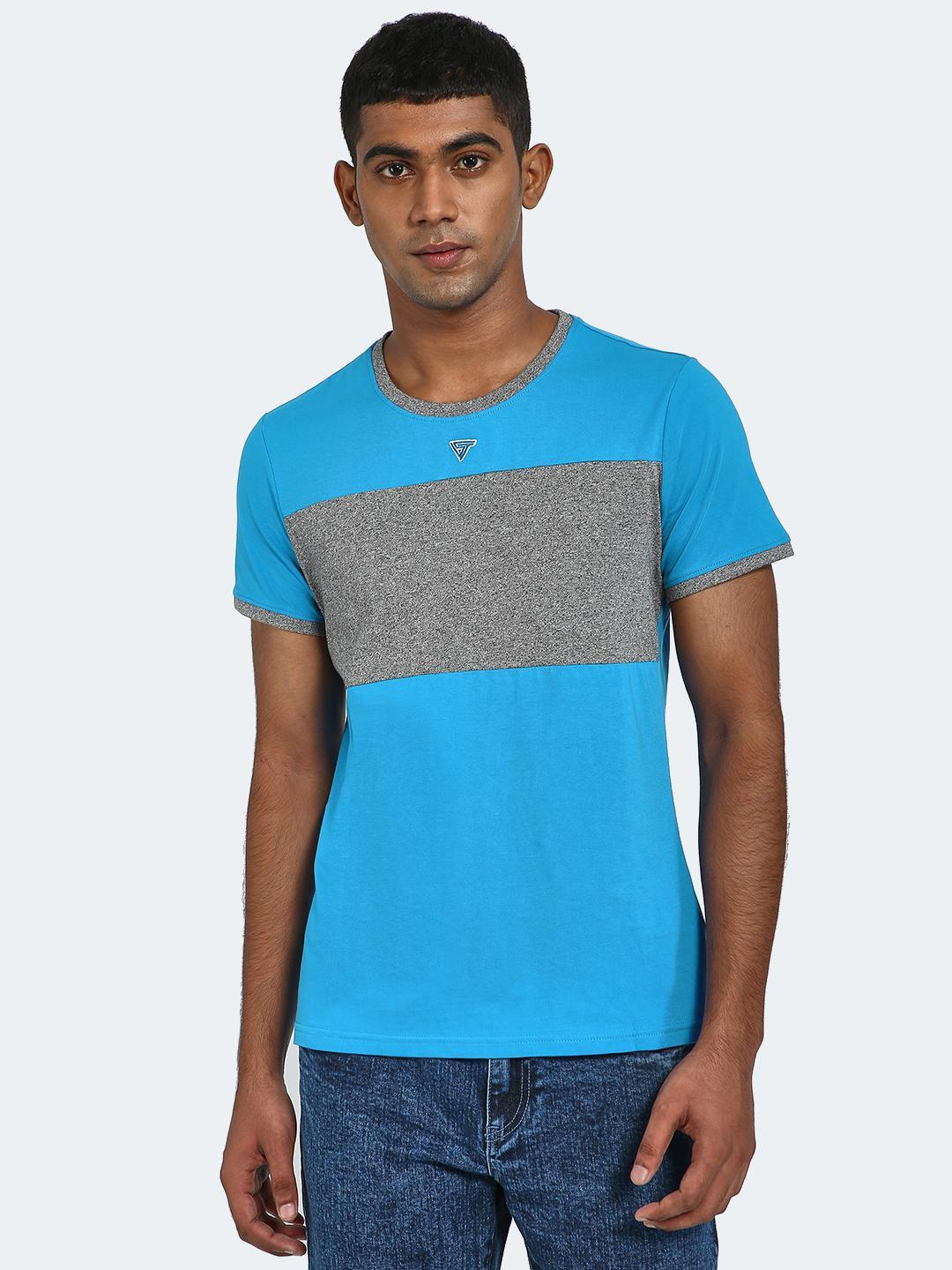 Blue Saint Blue/Grey Colour Block Half Sleeve T-Shirt 1