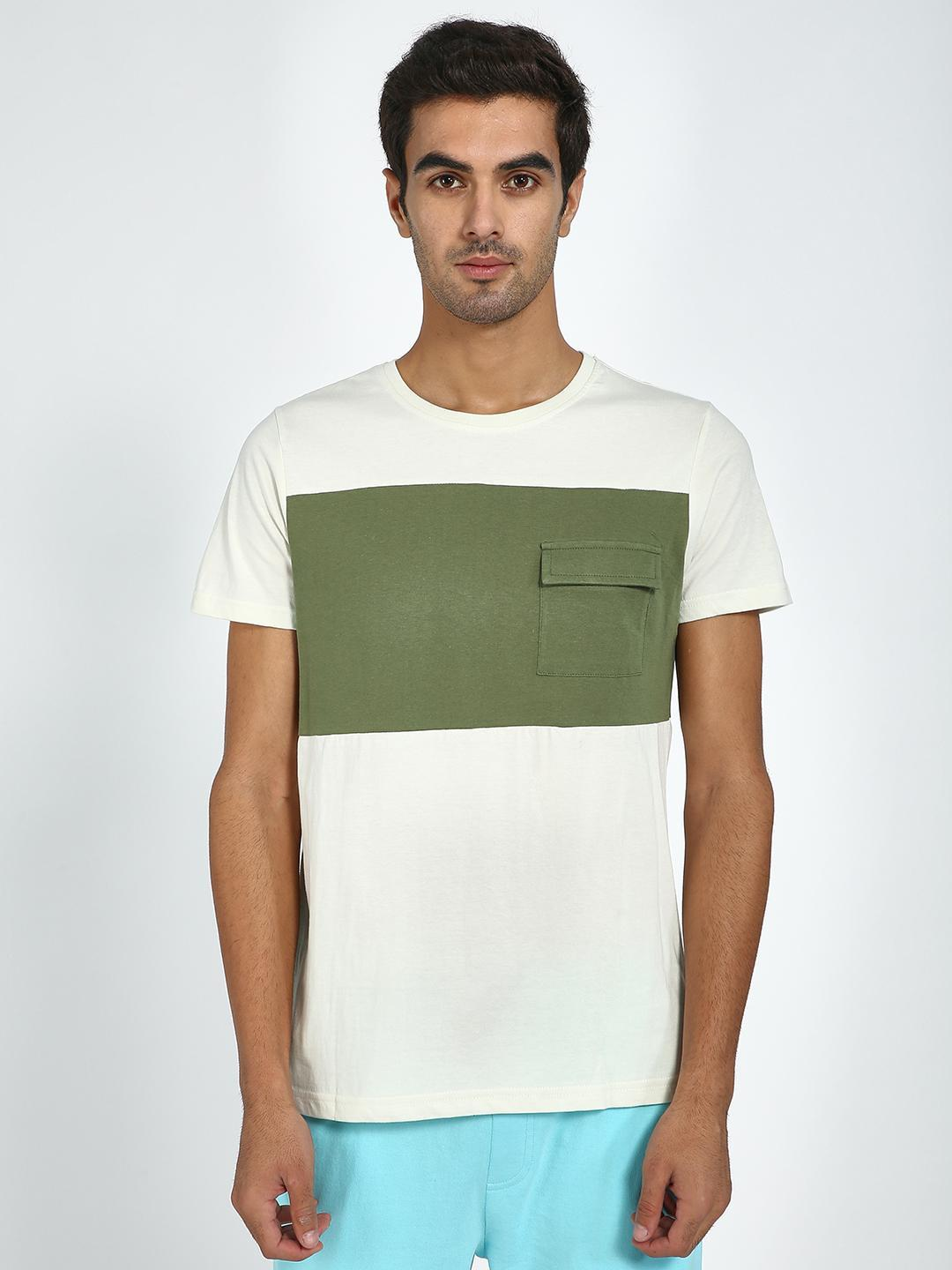Blue Saint White/Olive Colour Block Pocket T-Shirt 1