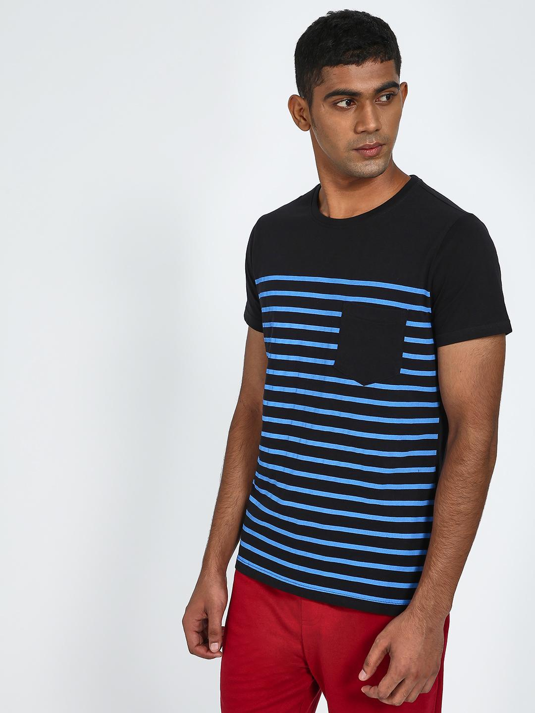 Blue Saint Multi Horizontal Stripe Crew Neck T-Shirt 1