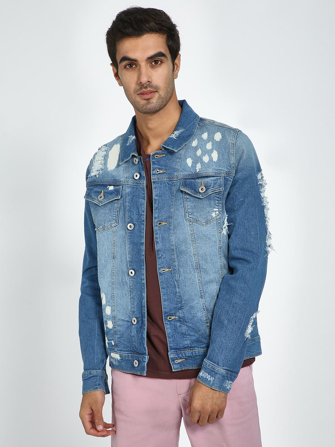 Blue Saint Blue Mid Blue Washed Distressed Jacket 1