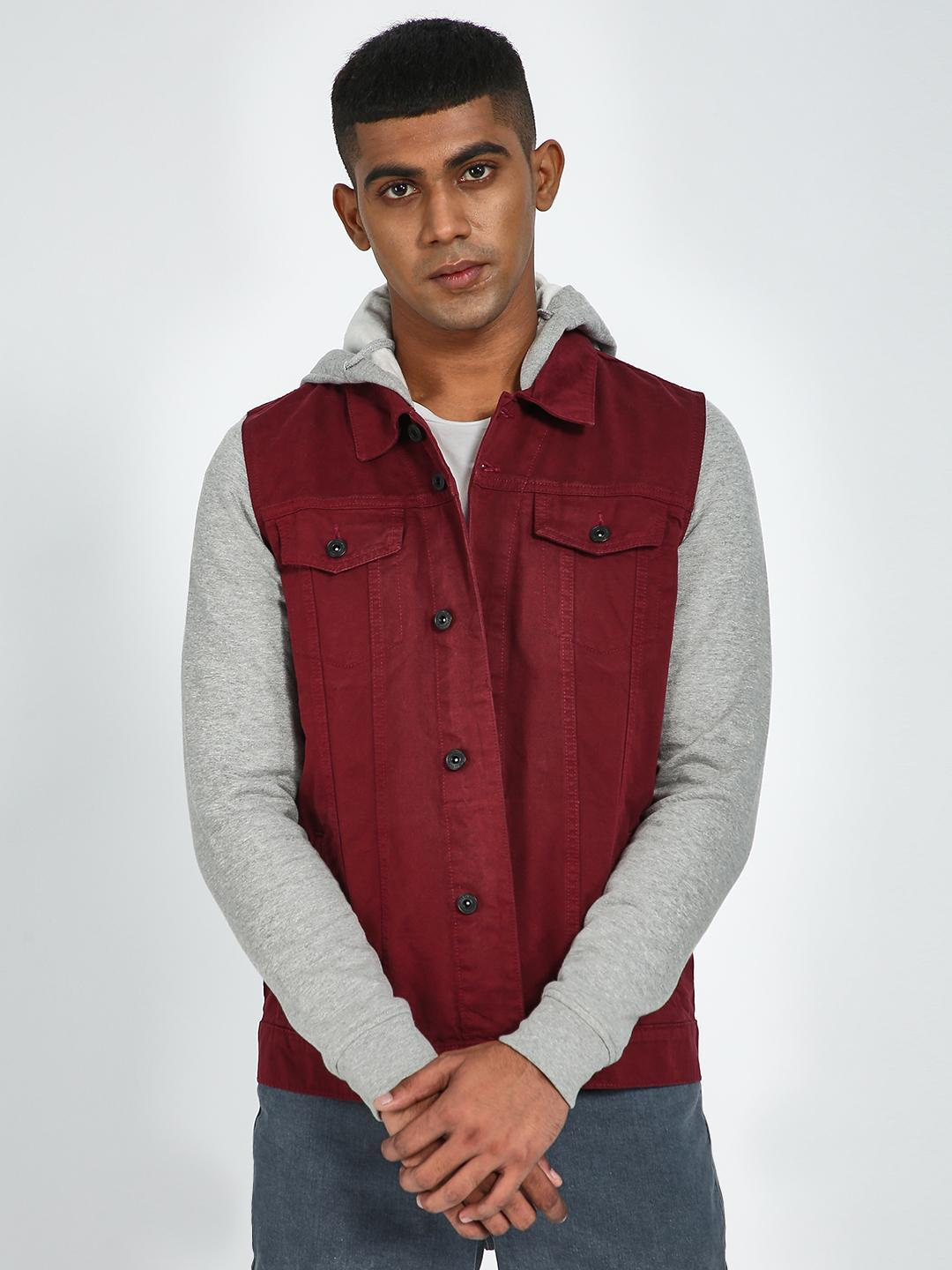 Blue Saint Maroon Jersey Sleeve Hooded Jacket 1