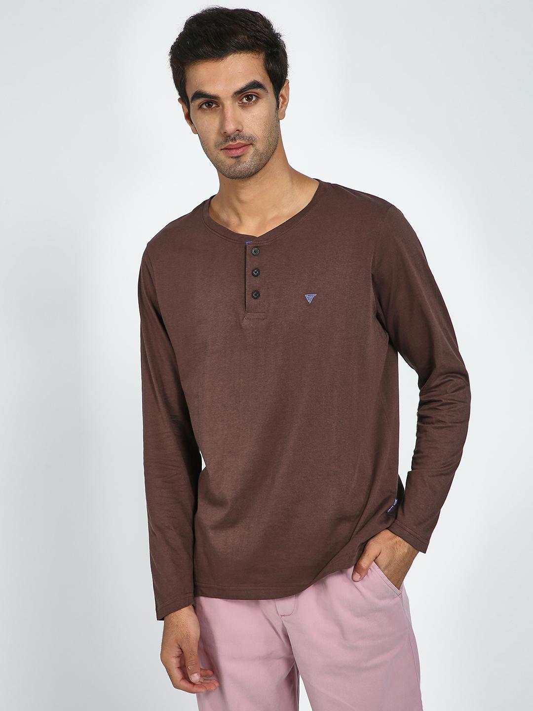 Blue Saint Brown Button Detail Henley Neck T-Shirt 1