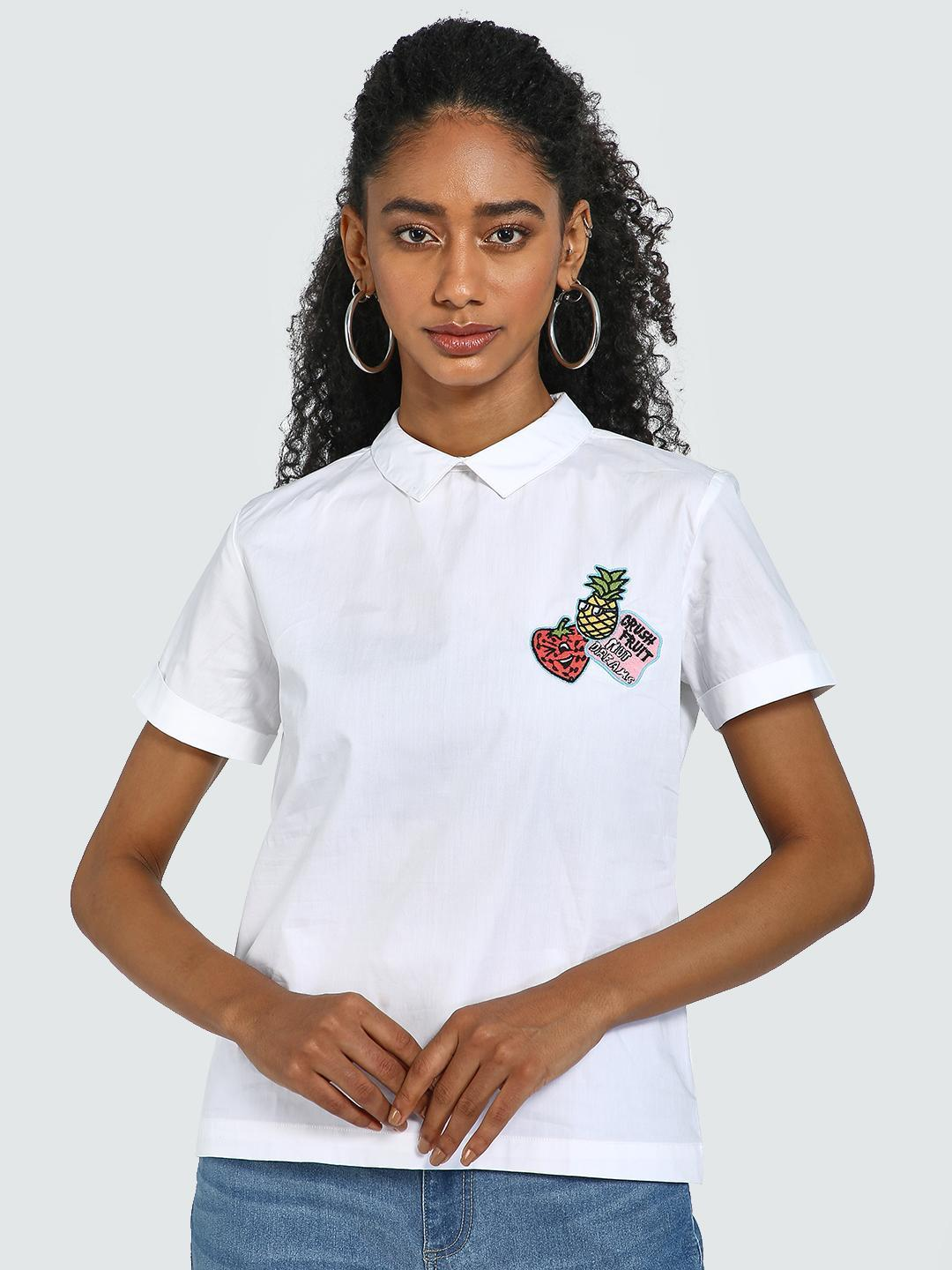 Blue Saint White Fruit & Slogan Embroidered Patch Blouse 1
