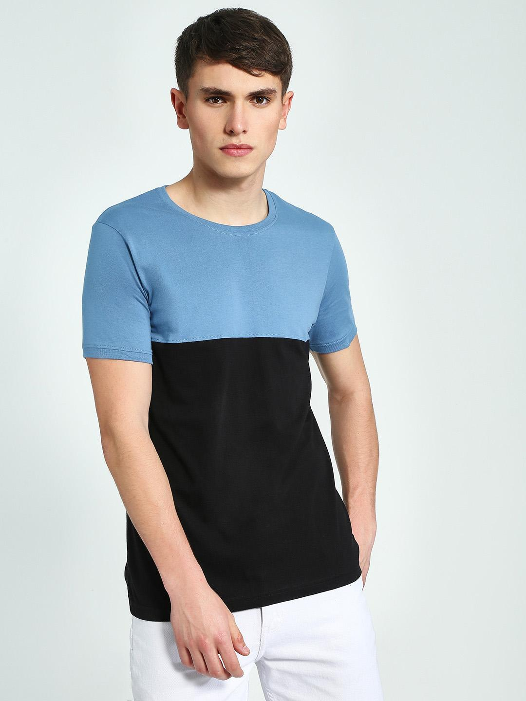 Blue Saint BLUE/BLACK Cut & Sew Colour Block T-Shirt 1