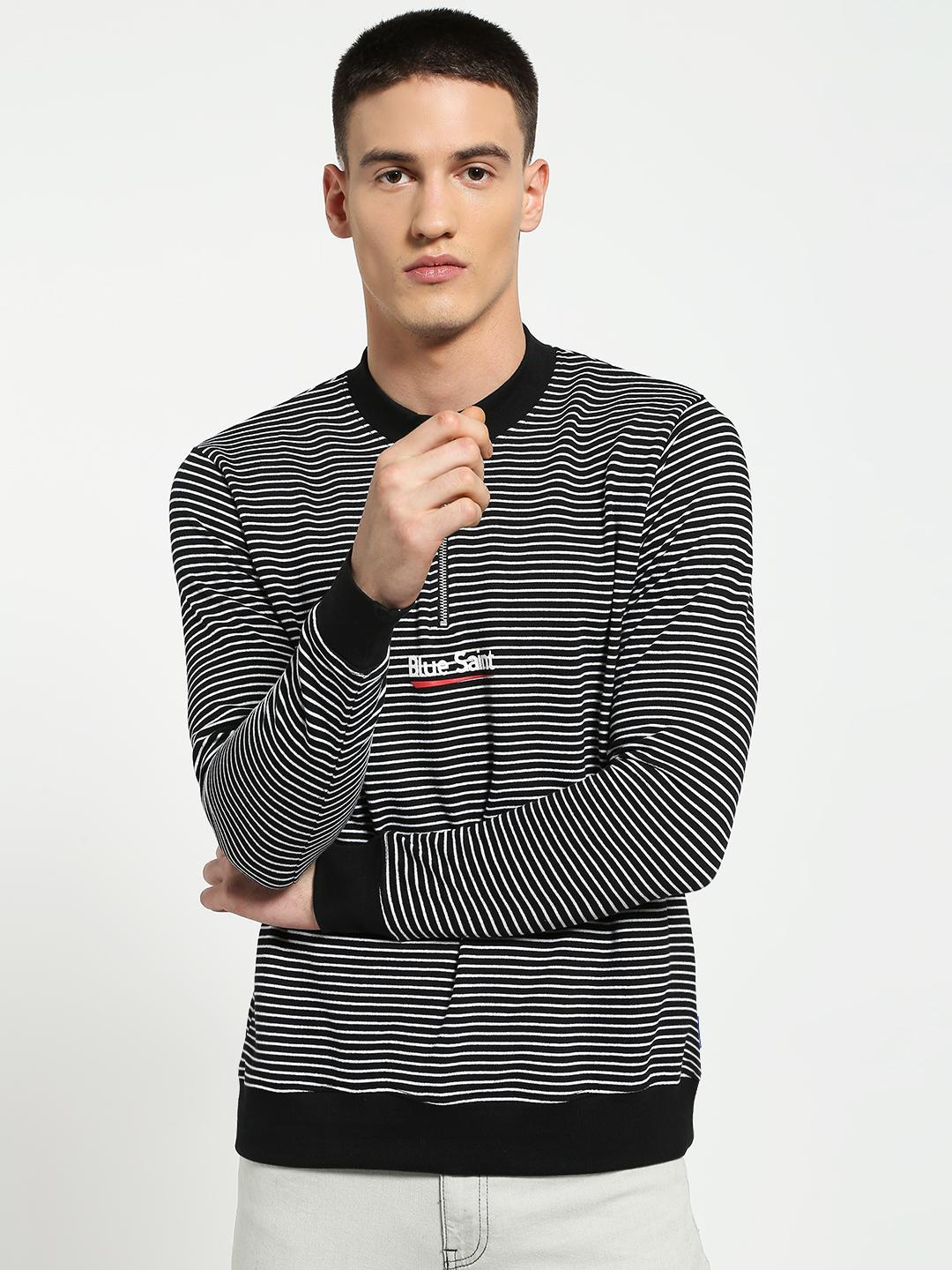Blue Saint Black Stripe Embossed Logo Zip-Up Sweatshirt 1