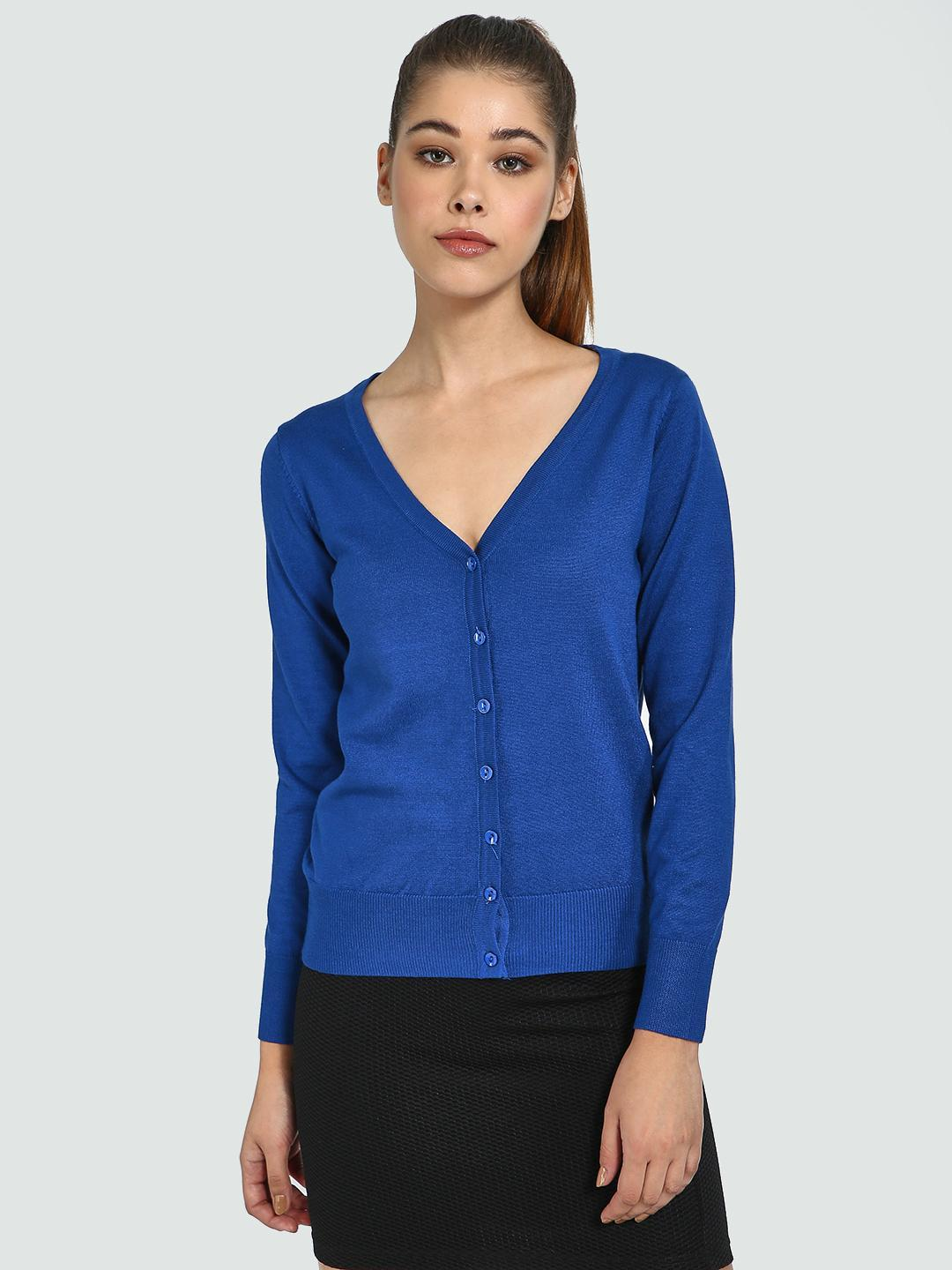 Blue Saint Blue V-Neck Long Sleeve Cardigan 1