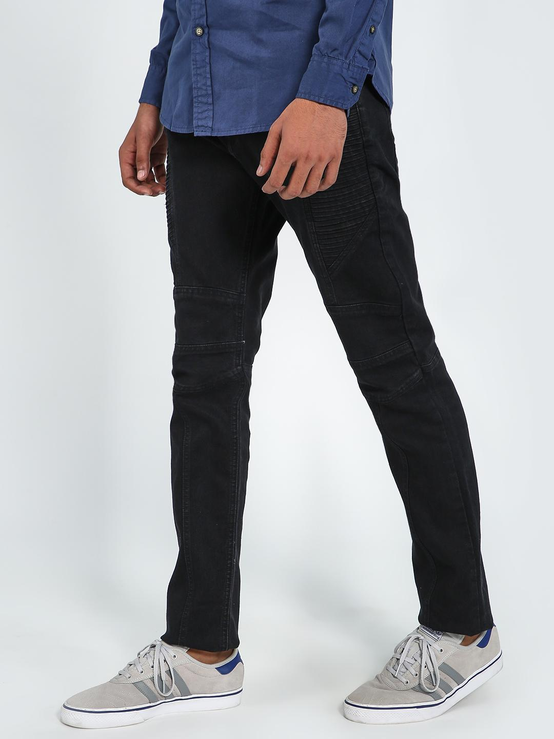 Blue Saint Black Cut & Sew Panelled Biker Jeans 1