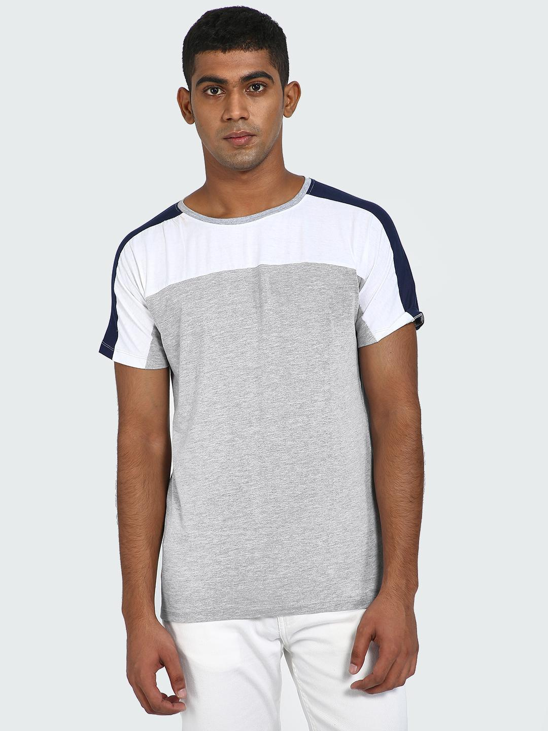 Blue Saint Grey Contrast Colour block T-Shirt 1