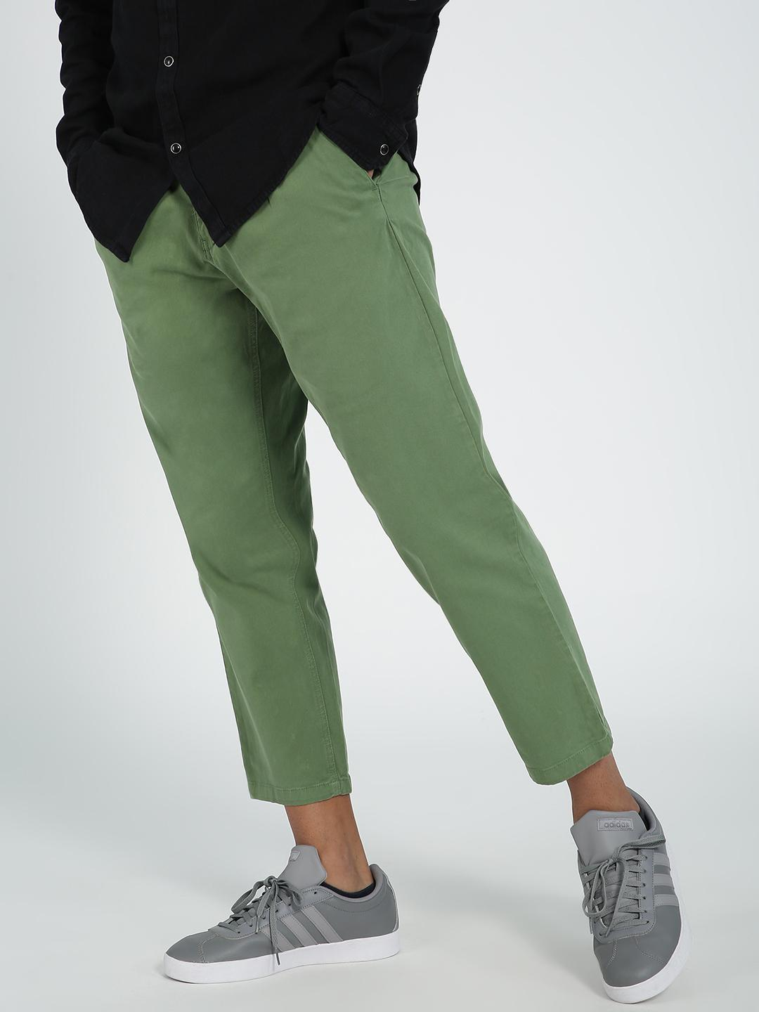 Blue Saint Green Pleated Cropped Trousers 1