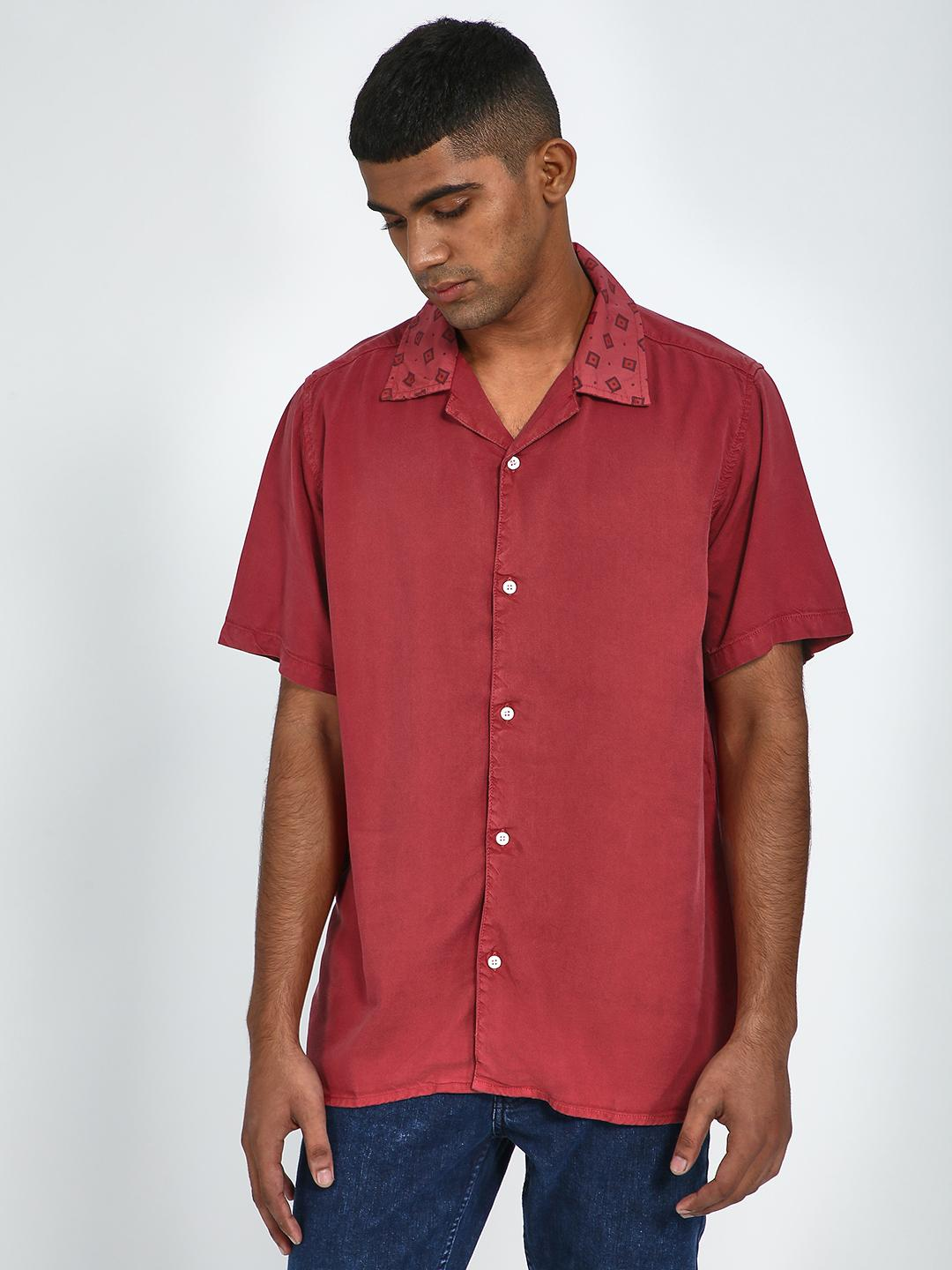Blue Saint Red Contrast Collar Casual Shirt 1