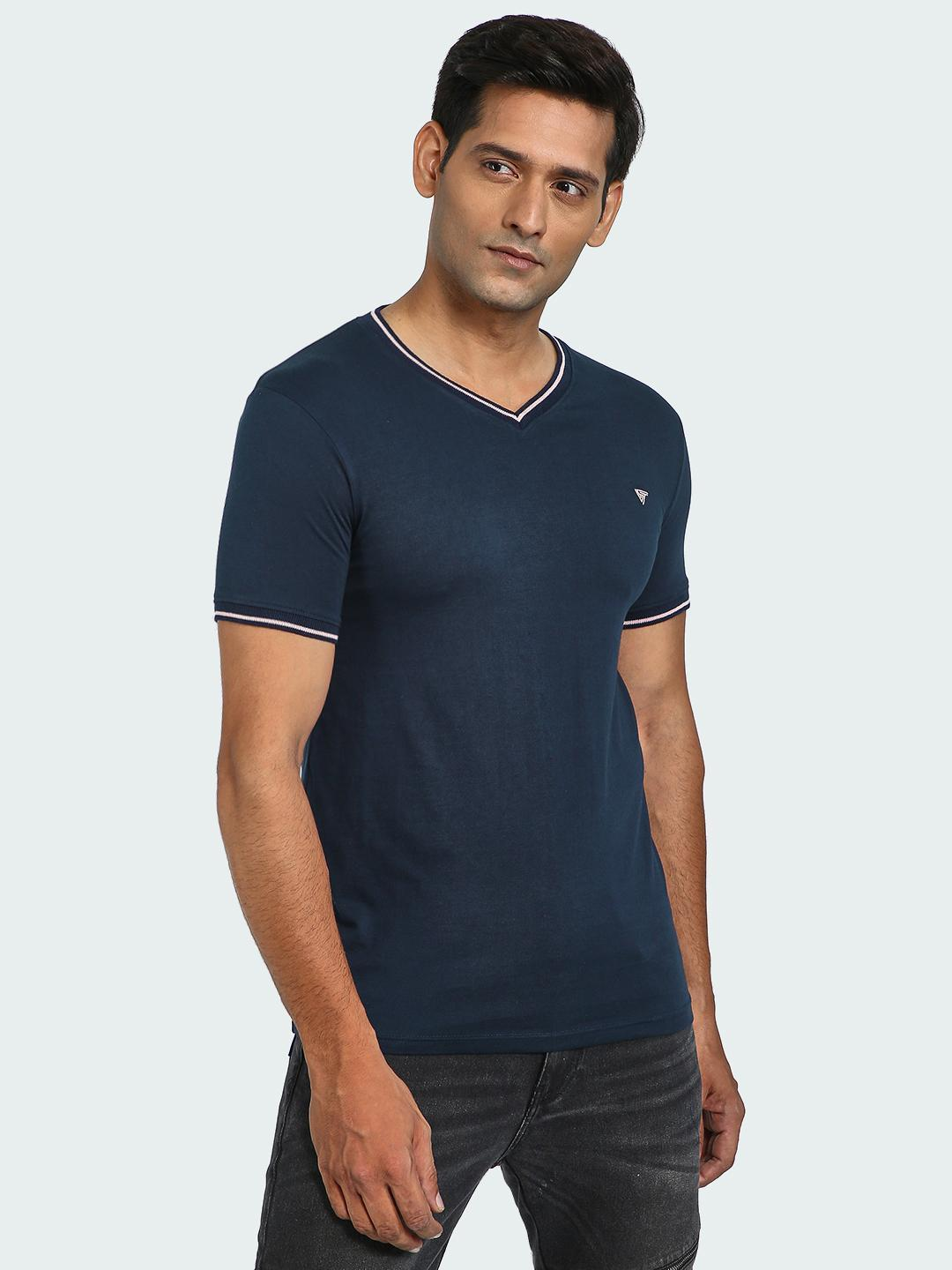 Blue Saint Navy Contrast Panel V Neck T-Shirt 1