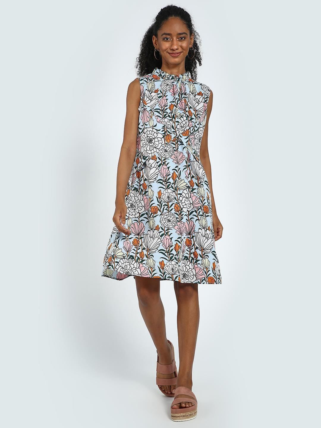 Blue Saint Multi Floral Print Ruffled Midi Dress 1