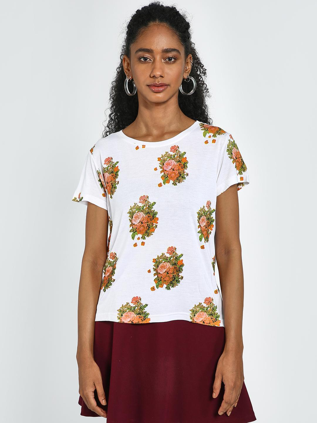 Blue Saint White Floral Print Round Neck Top 1