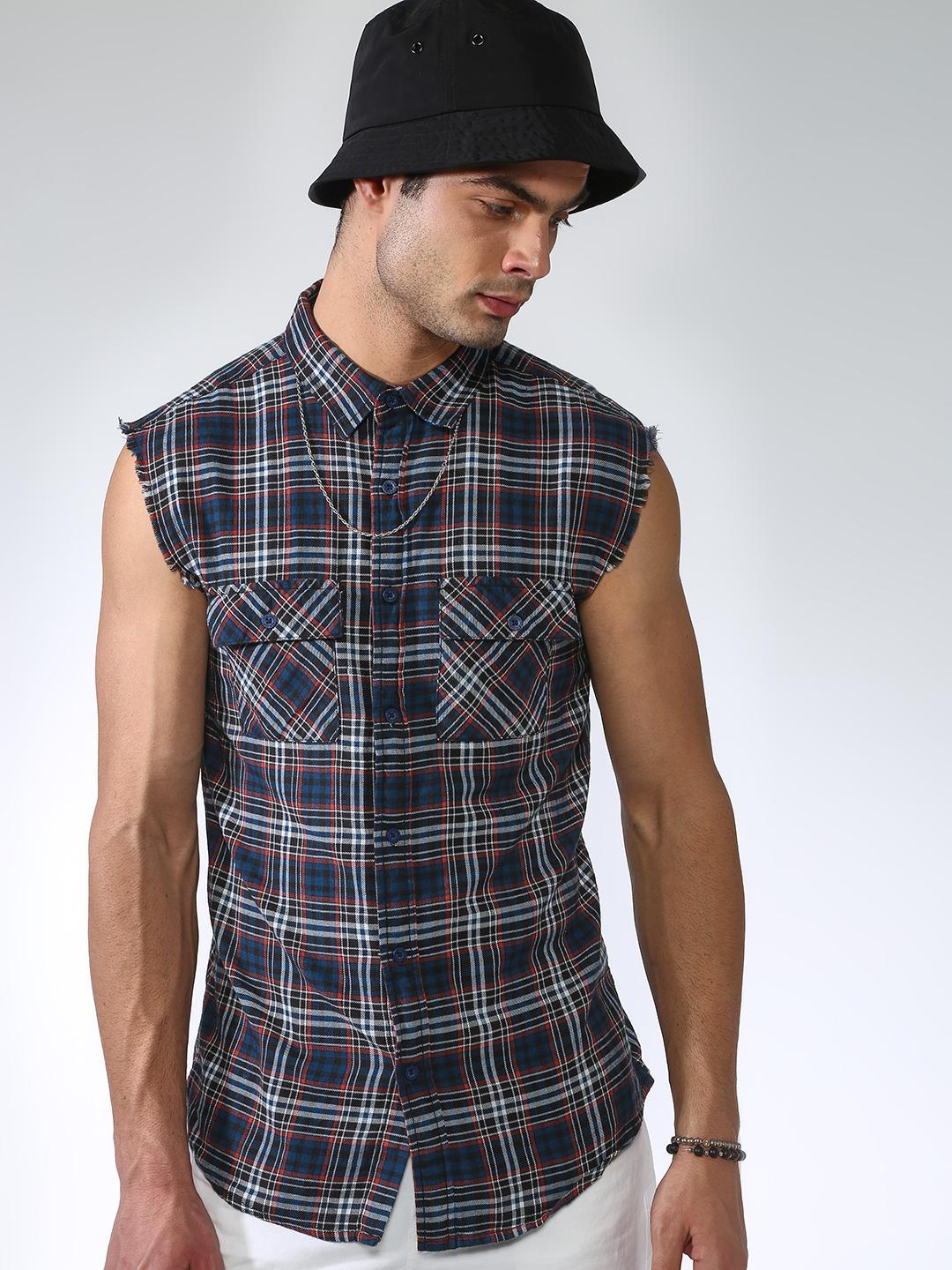 Blue Saint Multi Gingham Check Raw Edge Sleeveless Shirt 1