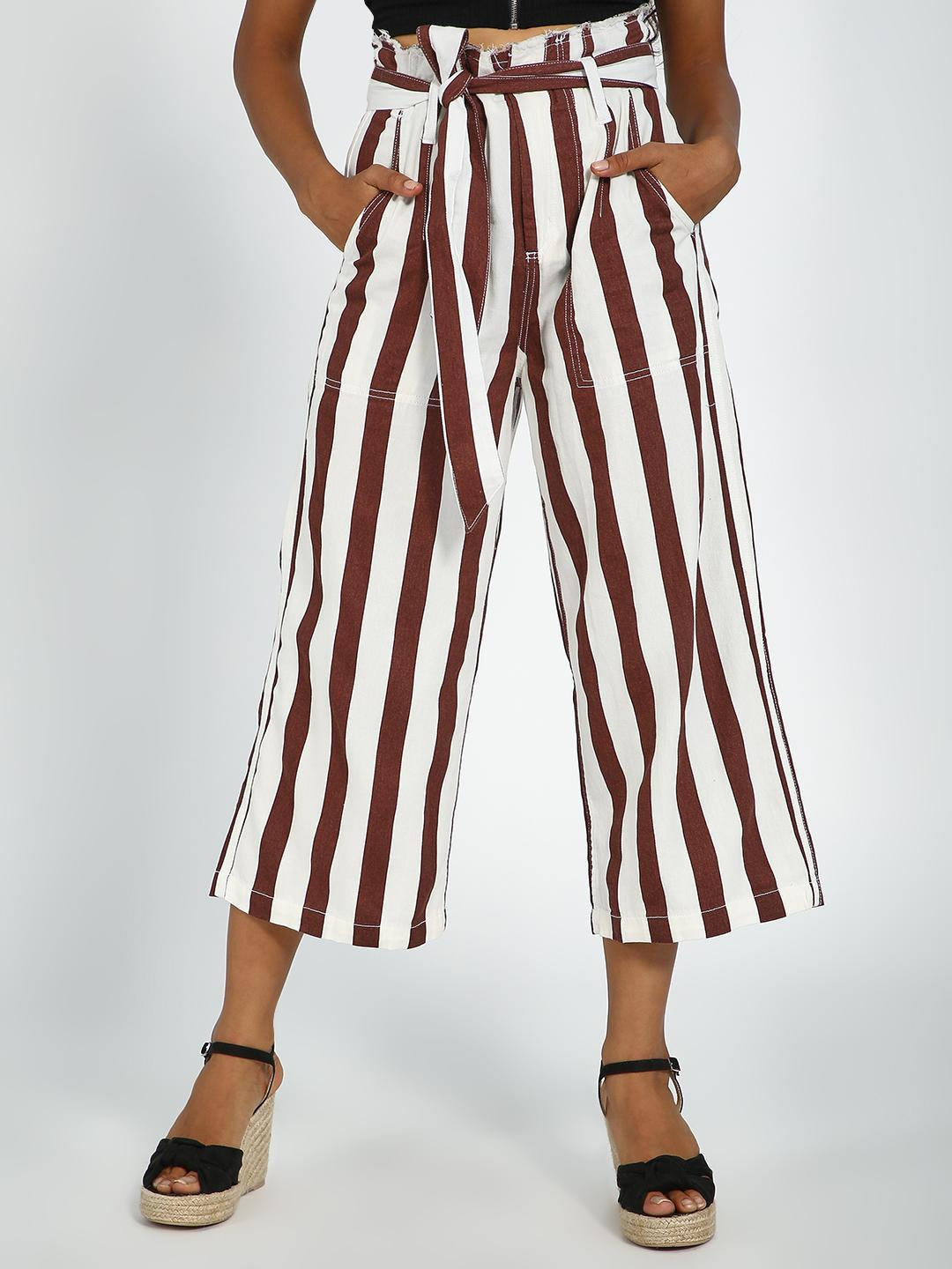 Blue Saint Maroon/White Vertical Stripes Paperbag Waist Belted Trousers 1
