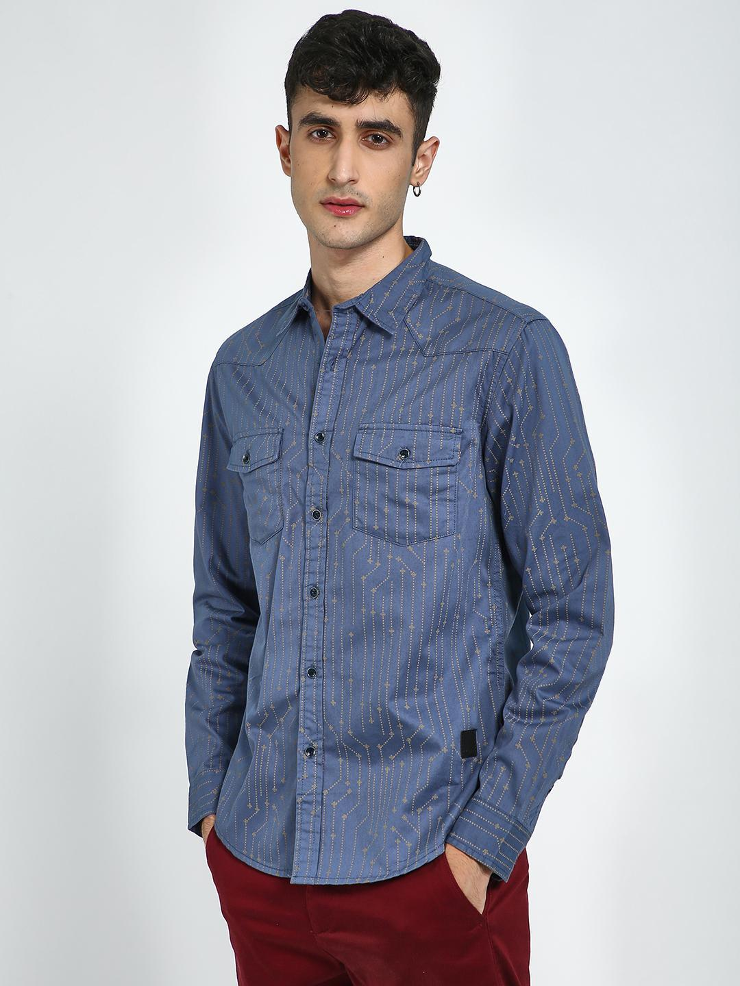 Blue Saint Navy All Over Circuit Print Casual Shirt 1