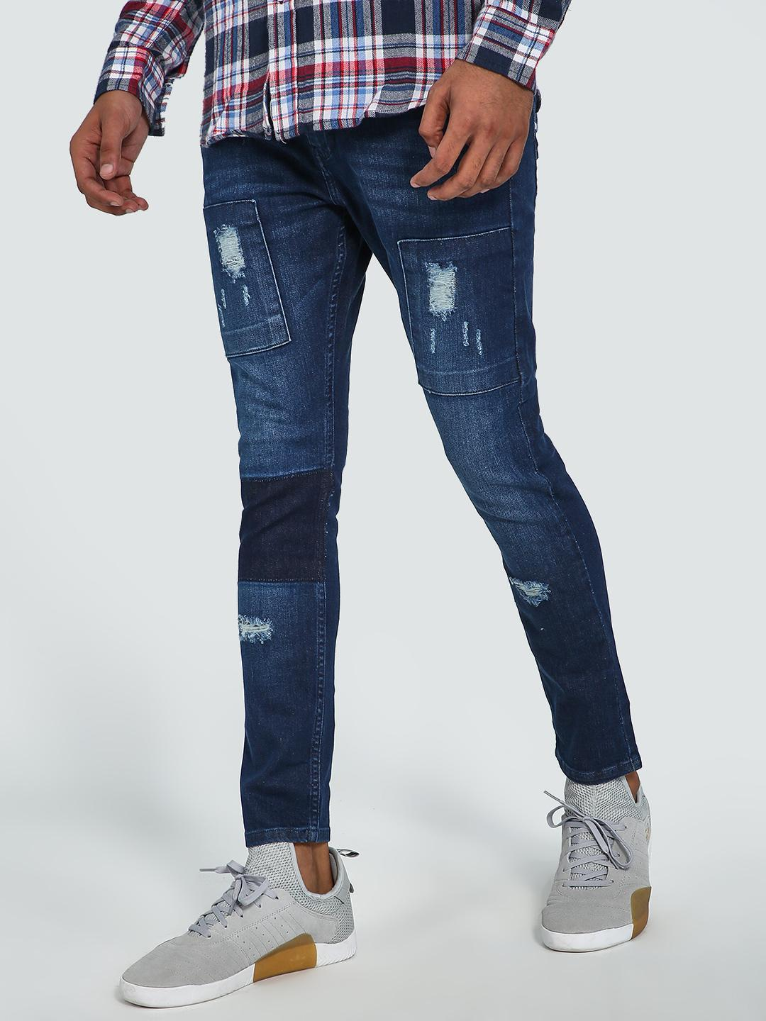 Blue Saint Blue Mid-Wash Distressed Cropped Skinny Jeans 1