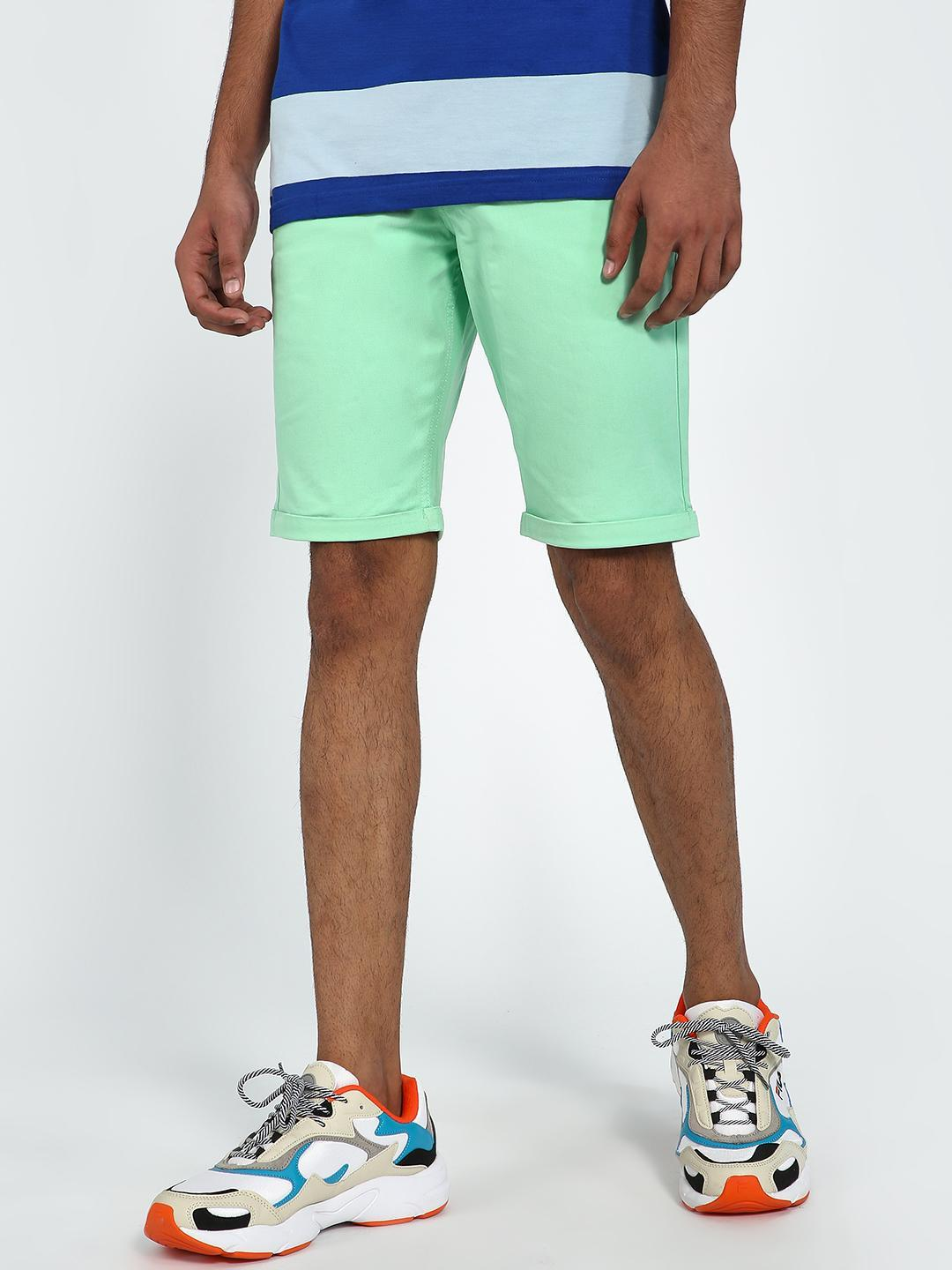 Blue Saint Mint Green Basic Rollover Hem Shorts 1