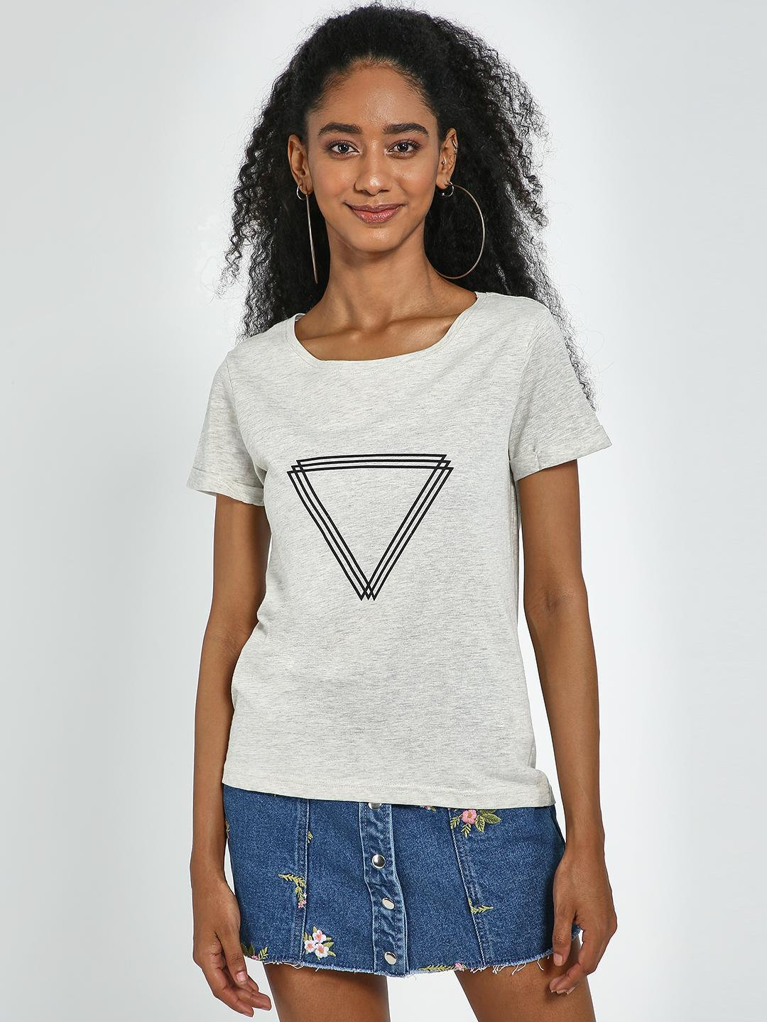 Blue Saint Grey Grey Textured Triangle Print Top 1