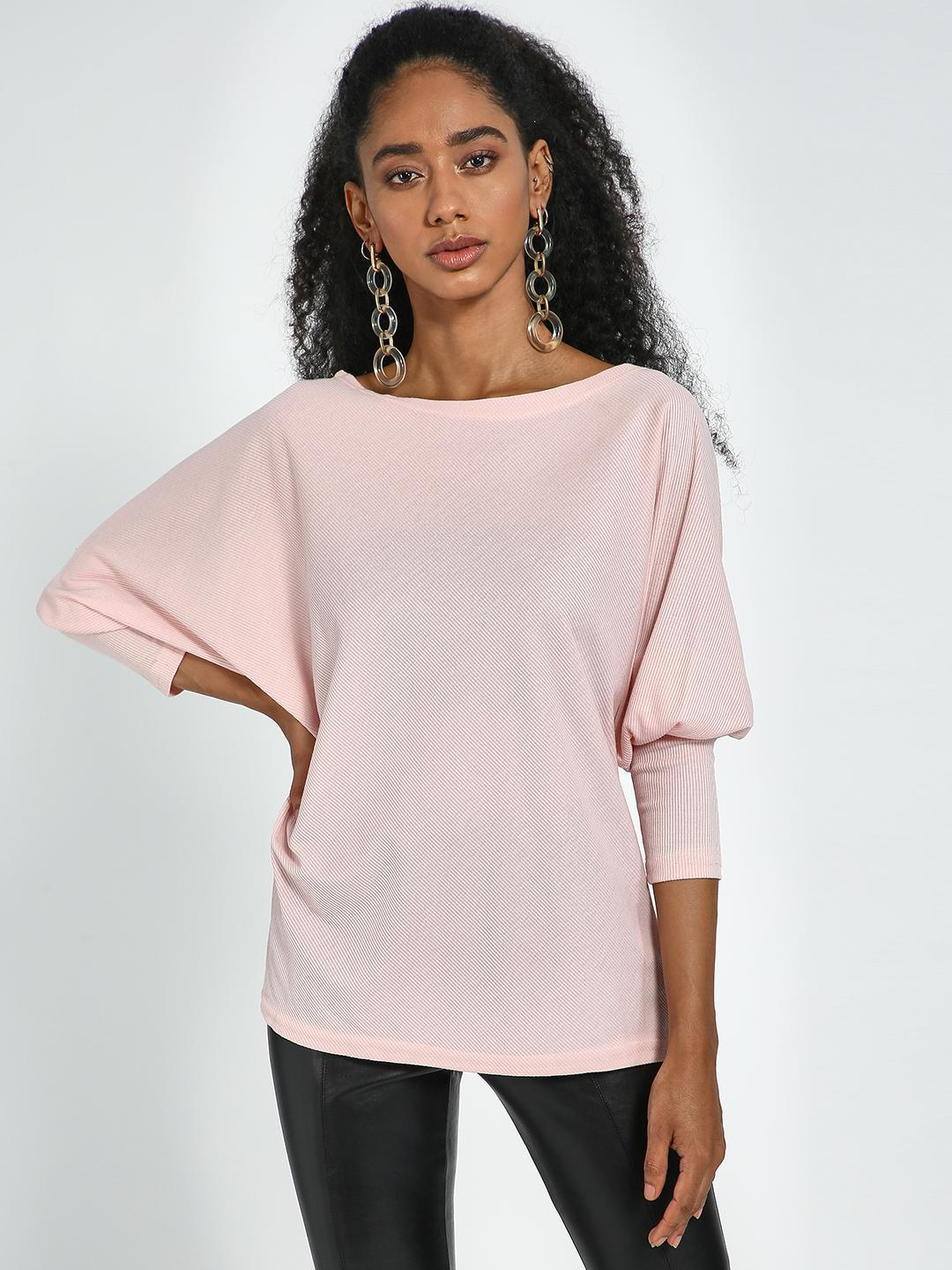 Blue Saint Pink Pink Round Neck Bishop Sleeves Pullover 1