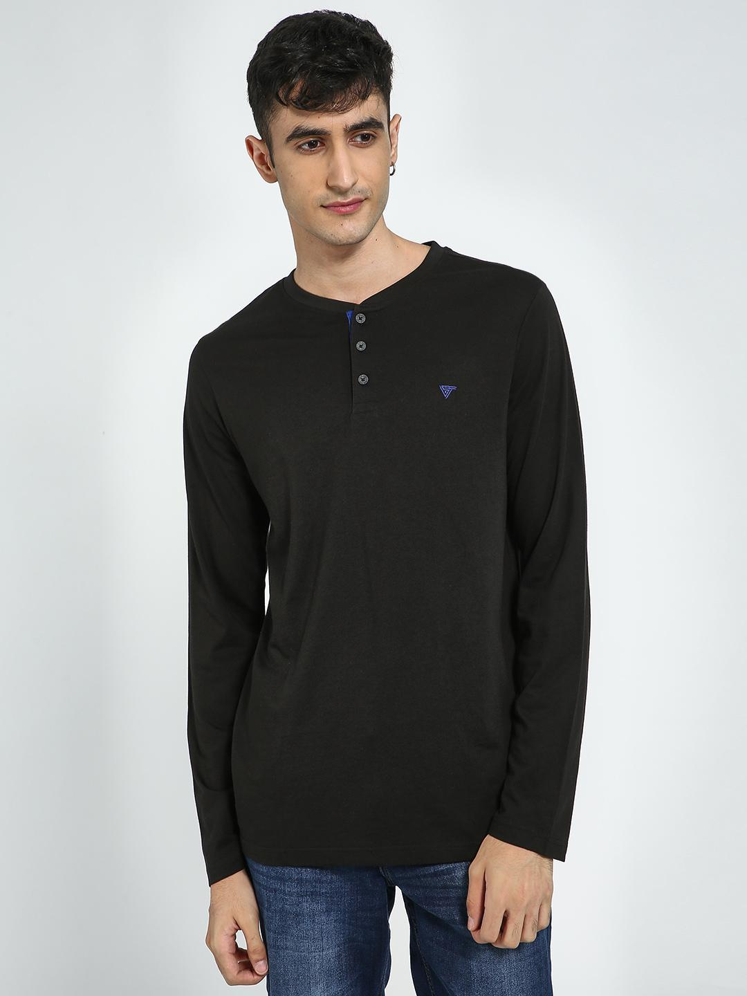 Blue Saint Black Long Sleeve Henley Neck T-Shirt 1