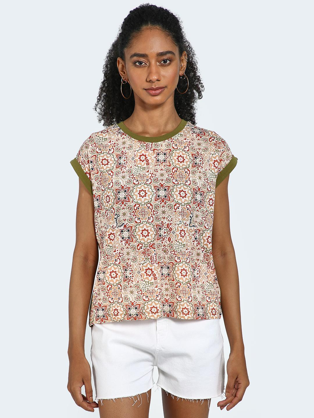 Blue Saint Green/Olive Traditional Print Round Neck Top 1