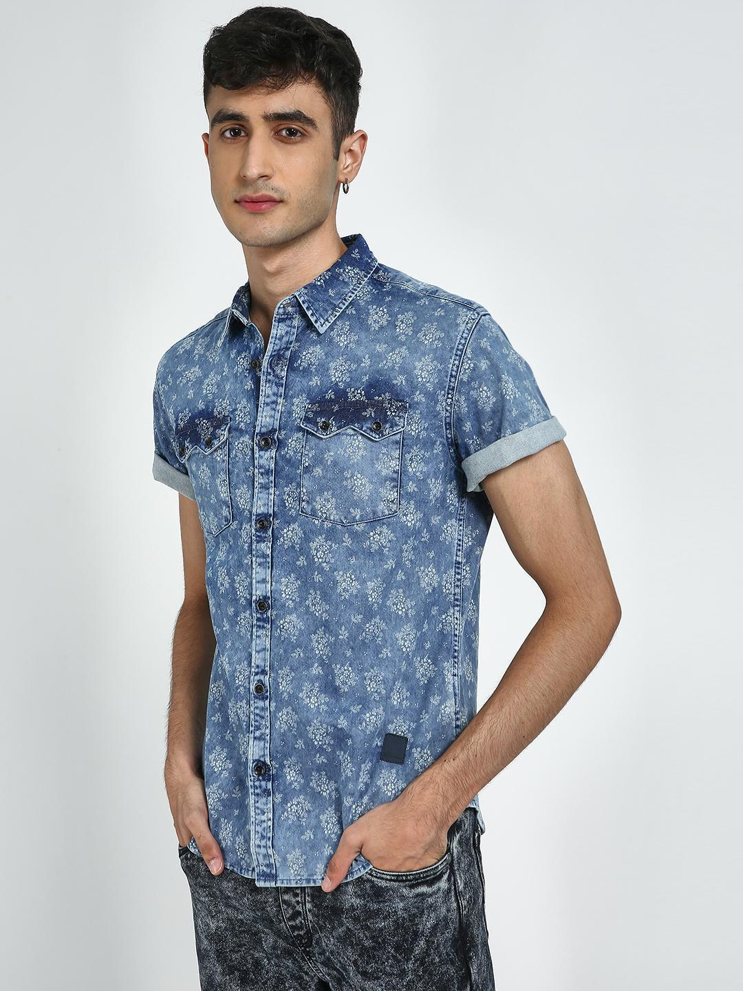 Blue Saint Blue Floral Printed Casual Shirt 1