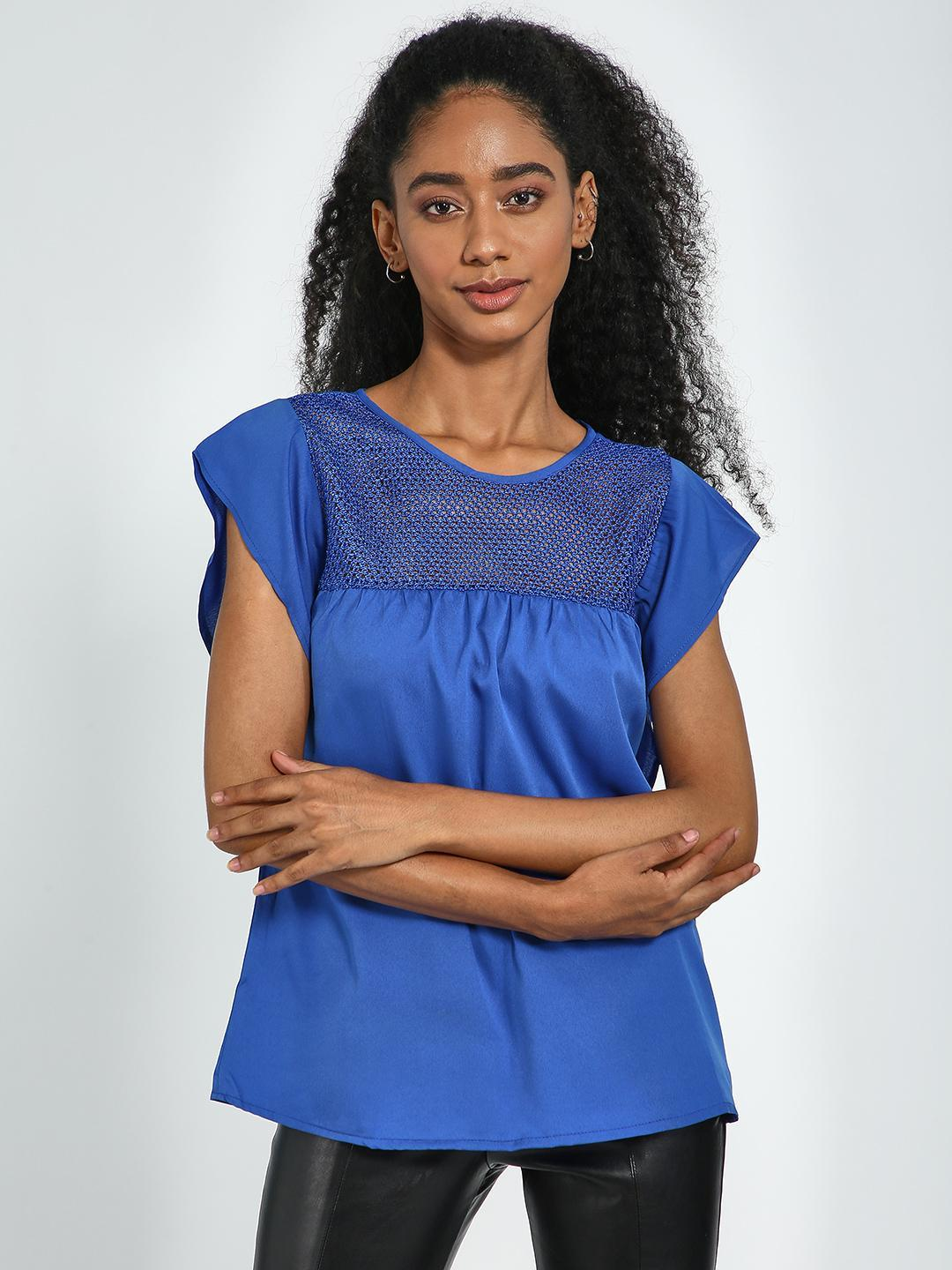 Blue Saint Blue Blue Square Crochet Panel Slim Fit Top 1