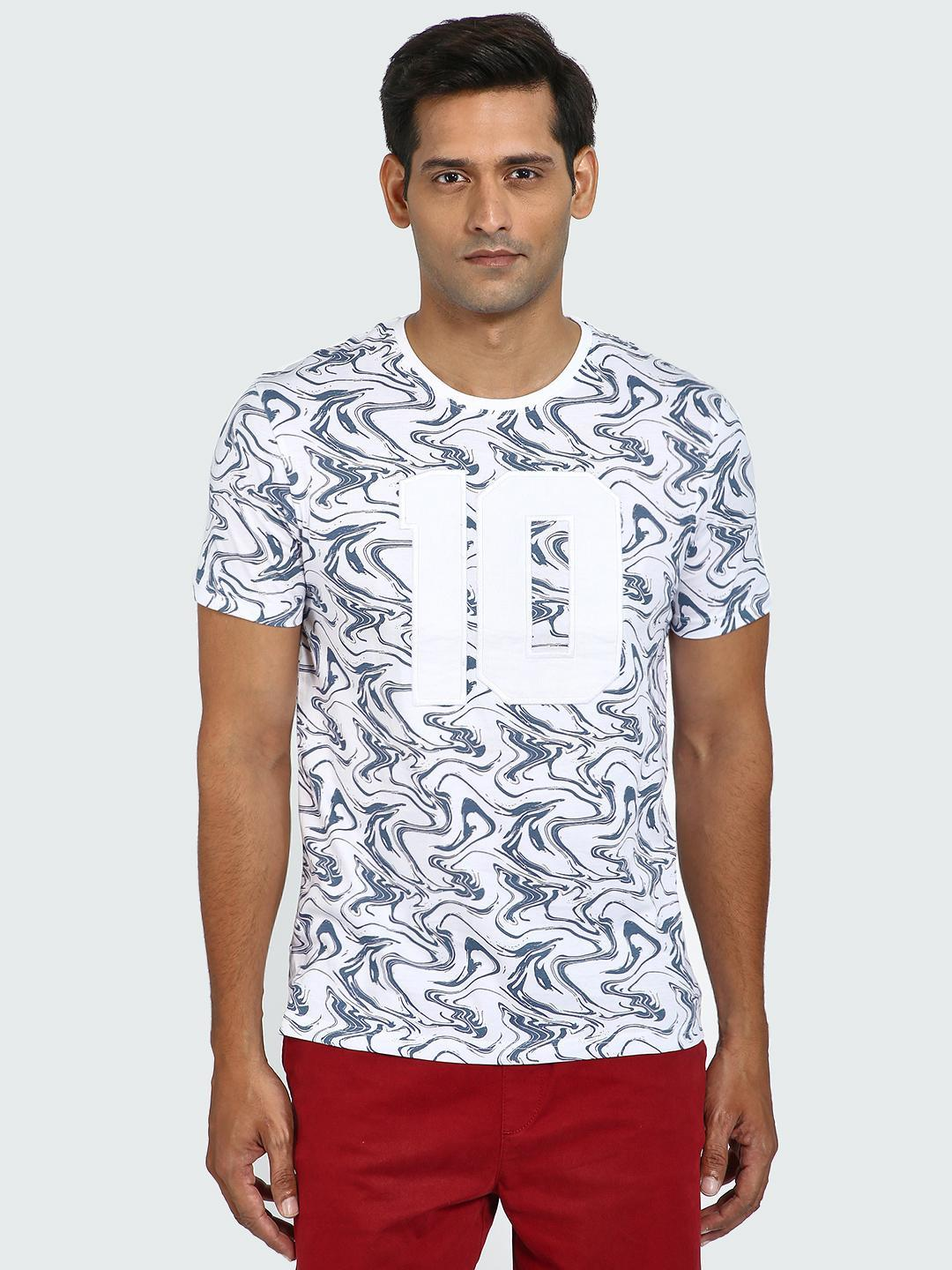 Blue Saint Multi Abstract Number Print Crew Neck T-Shirt 1