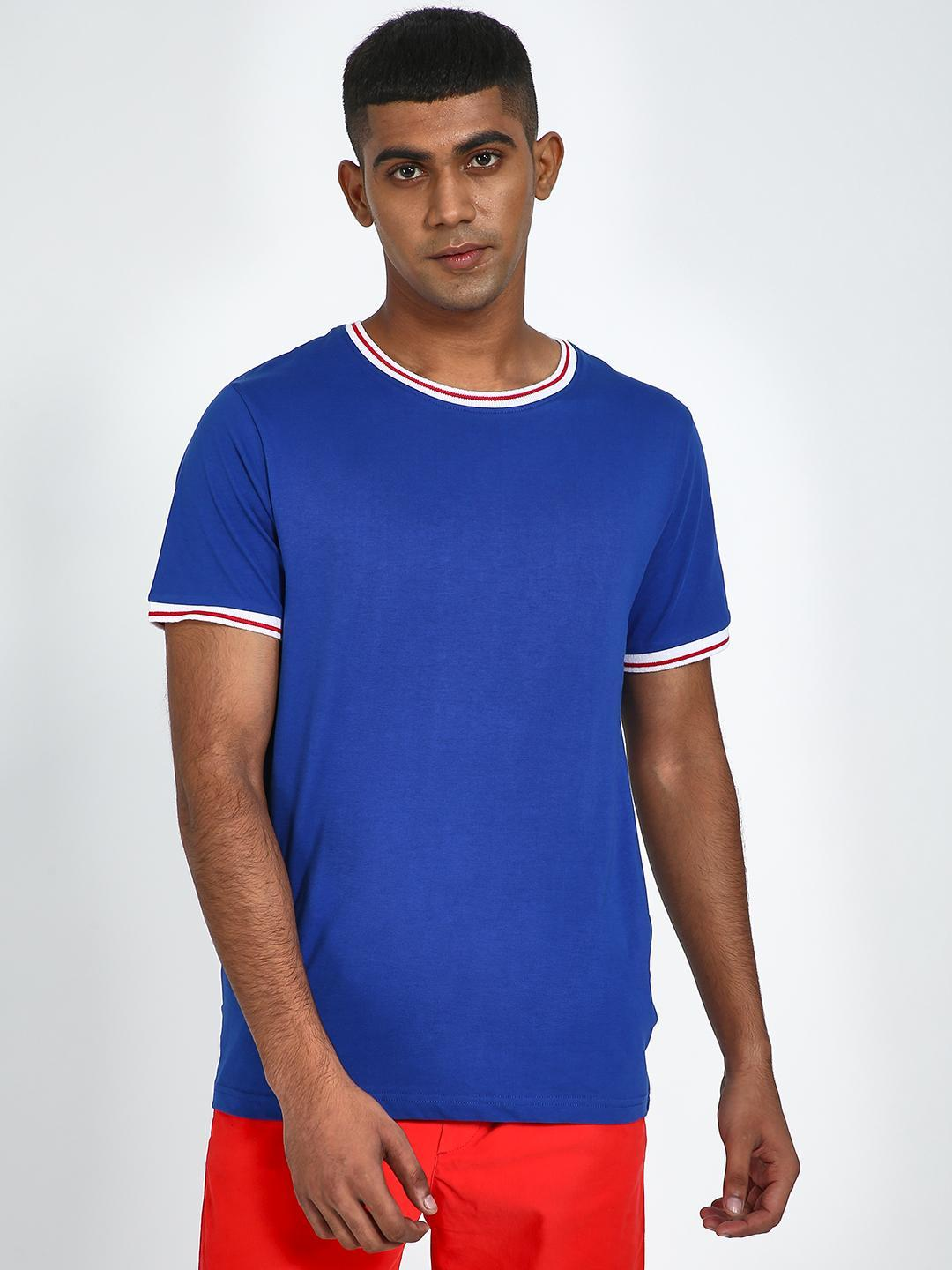 Blue Saint Blue T-shirt with Contrast Piping 1
