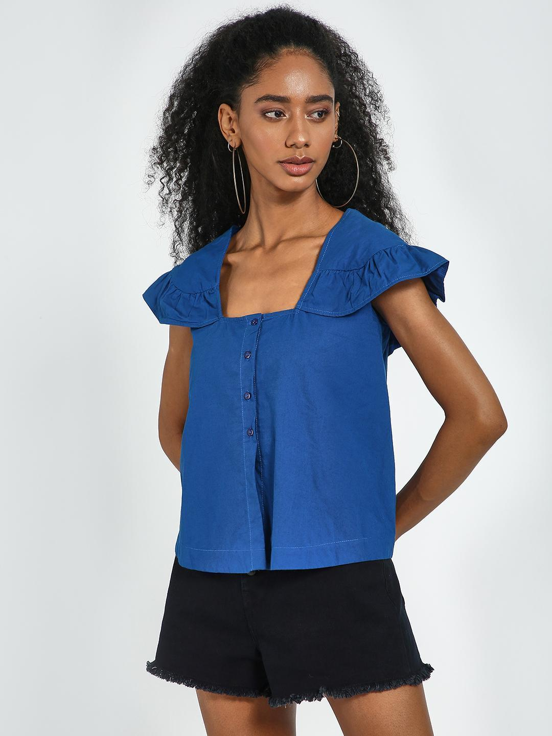 Blue Saint Blue Blue Square Neck Flared Sleeve Top 1
