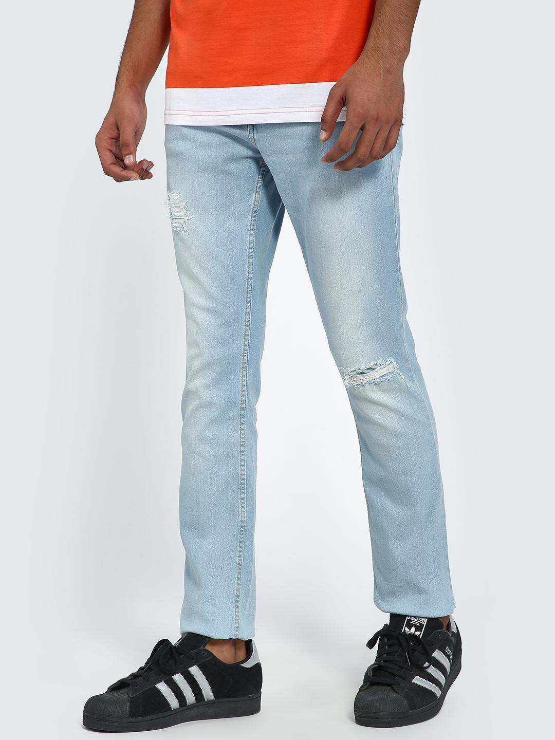 Blue Saint Light Blue Light Wash Distressed Slim Jeans 1