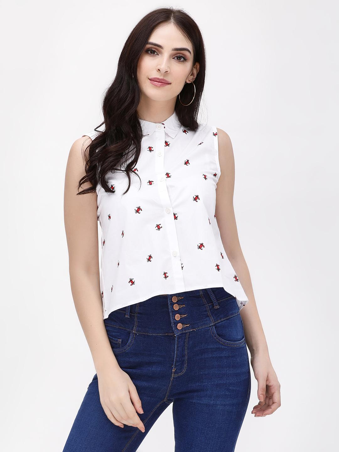 Blue Saint White Crab Print Sleeveless Shirt 1