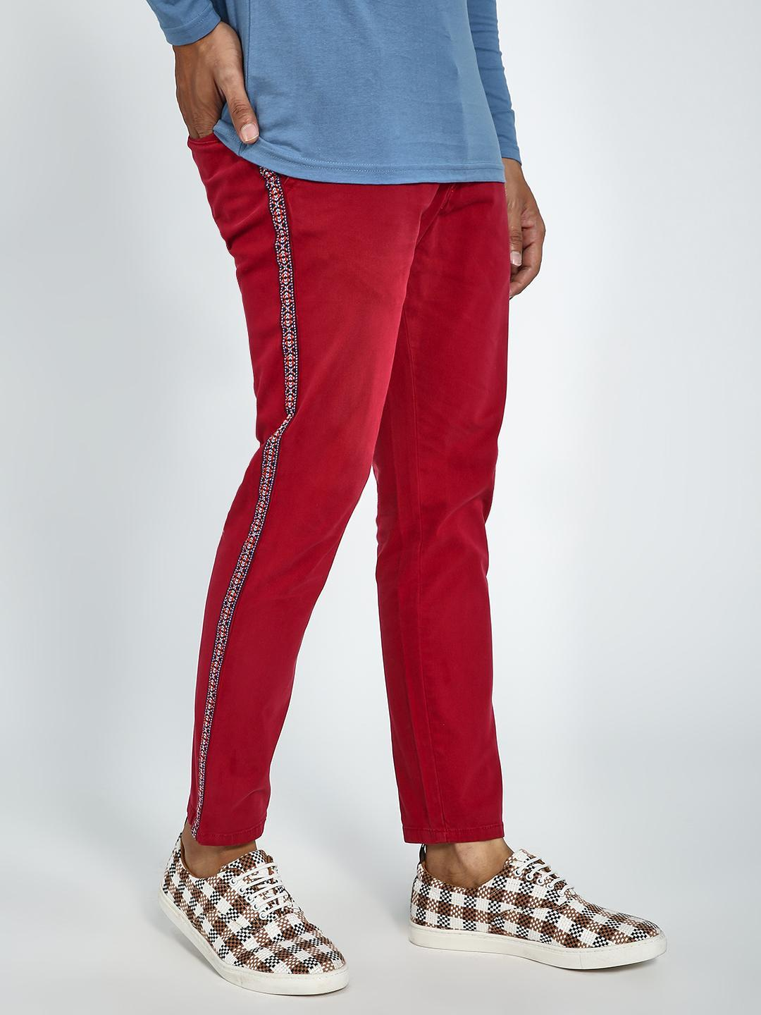Blue Saint Red Contrast Side Tape Cropped Slim Trousers 1